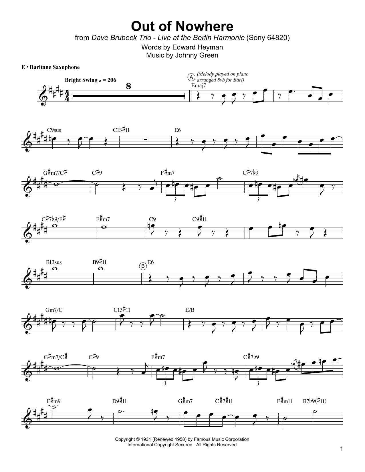 Out Of Nowhere Sheet Music