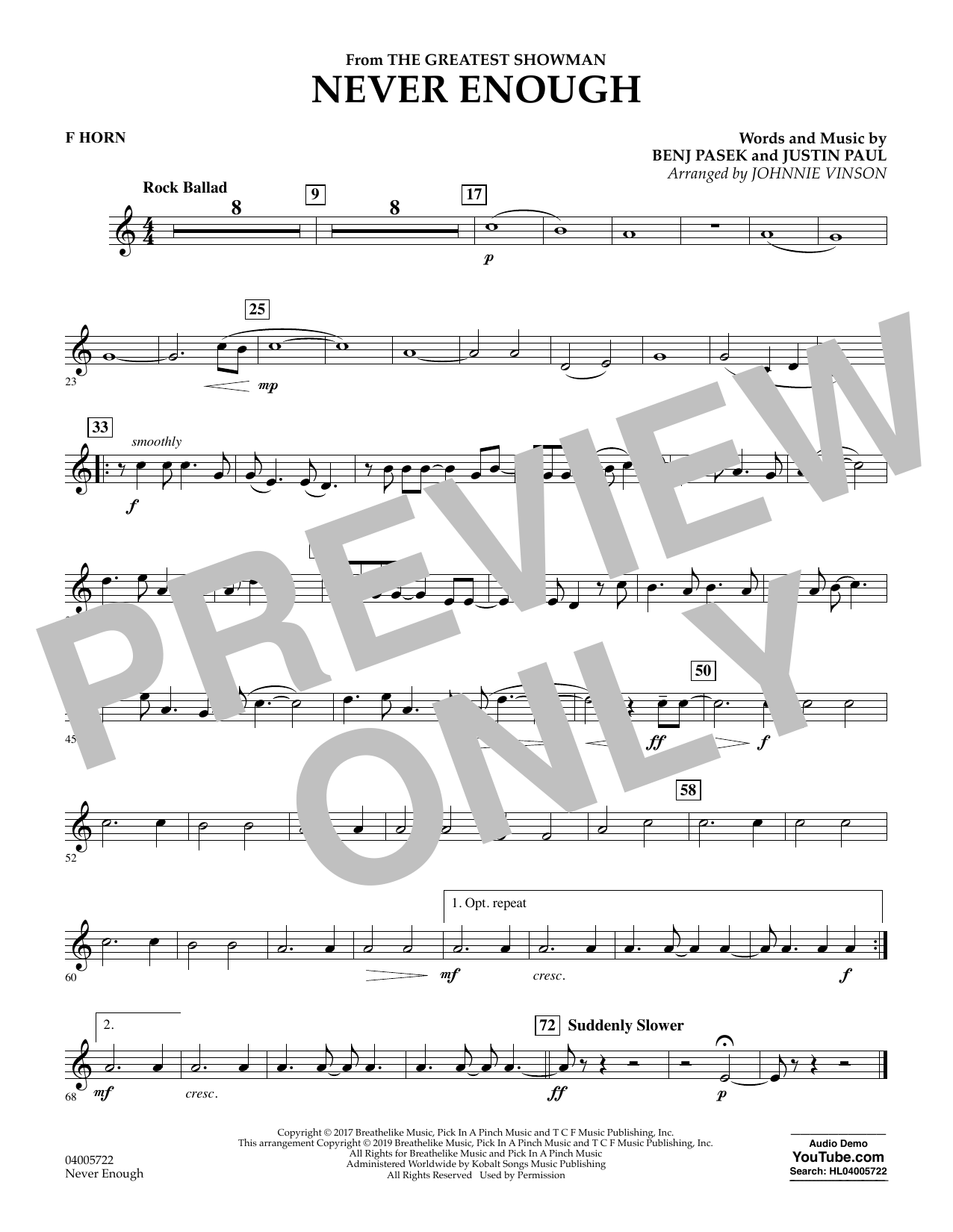 Never Enough (from The Greatest Showman) (arr. Johnnie Vinson) - F Horn (Concert Band)