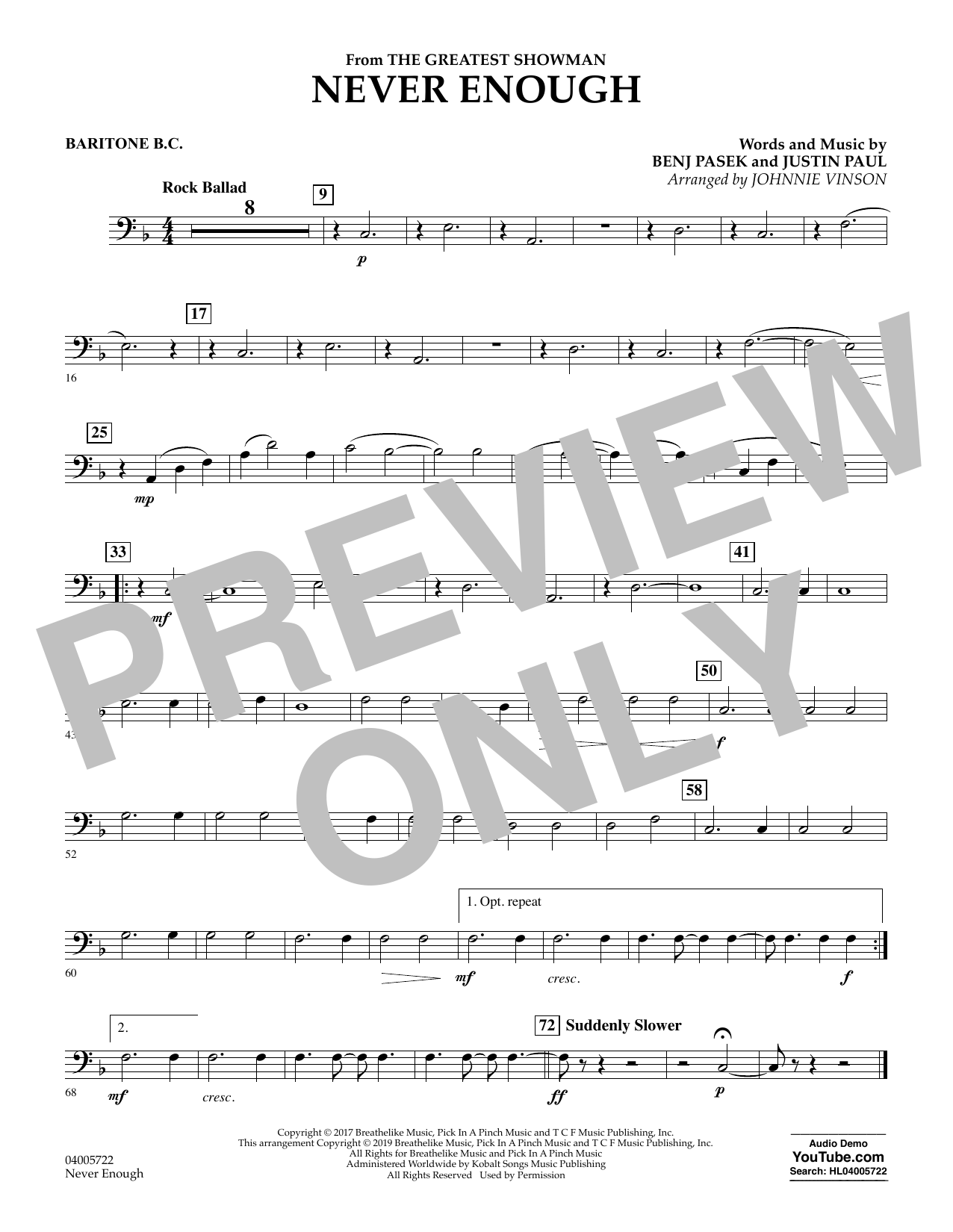 Never Enough (from The Greatest Showman) (arr. Johnnie Vinson) - Baritone B.C. (Concert Band)