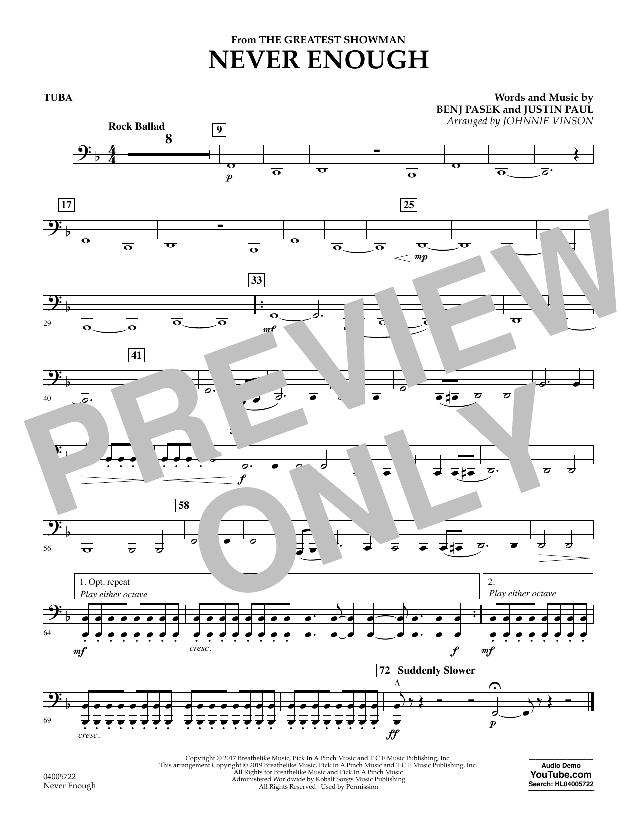 Never Enough (from The Greatest Showman) (arr. Johnnie Vinson) - Tuba (Concert Band)