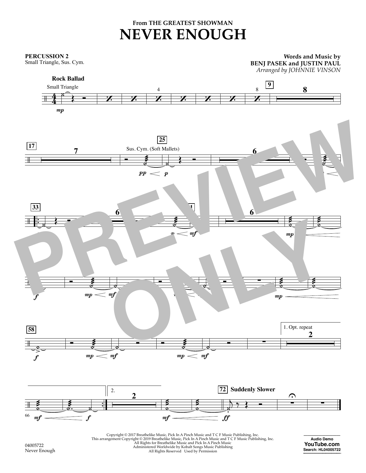 Never Enough (from The Greatest Showman) (arr. Johnnie Vinson) - Percussion 2 (Concert Band)