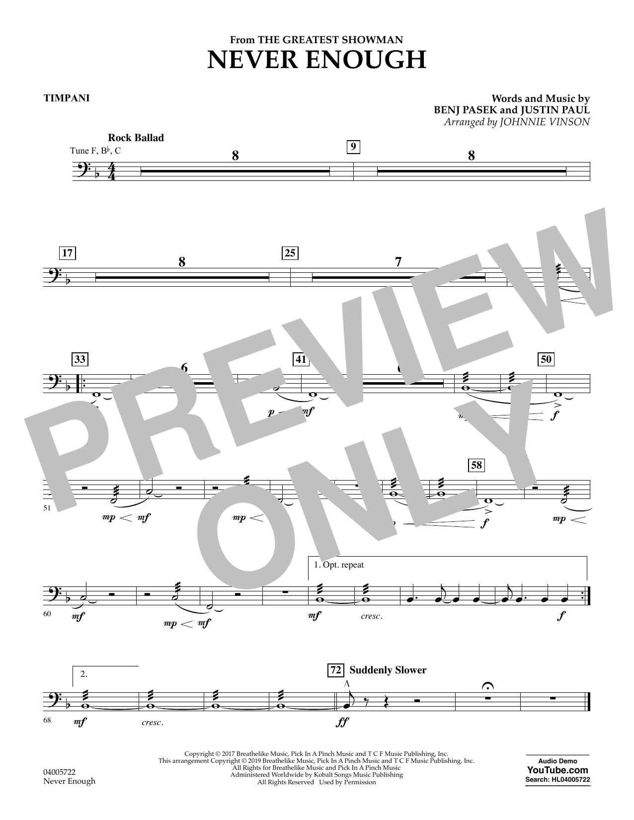 Never Enough (from The Greatest Showman) (arr. Johnnie Vinson) - Timpani (Concert Band)