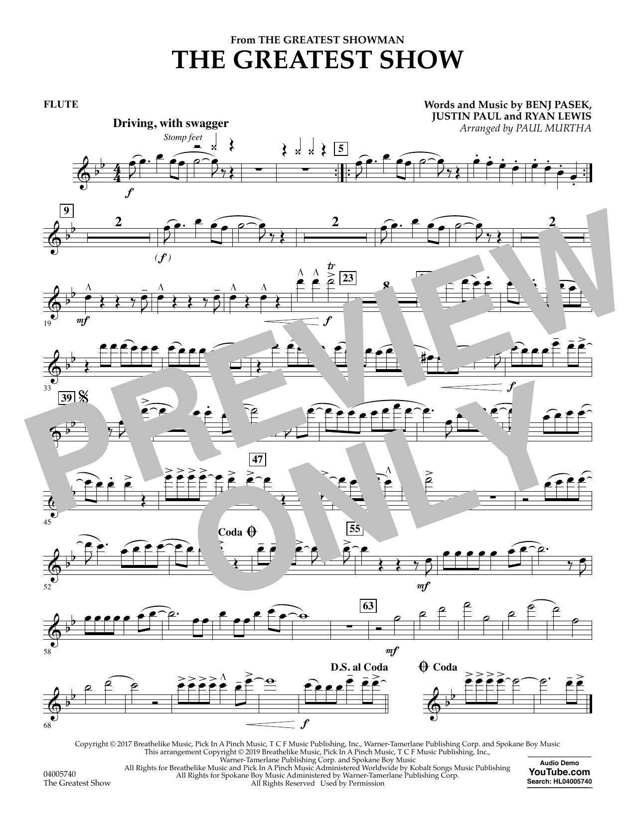 The Greatest Show  (arr. Paul Murtha) - Flute (Concert Band)
