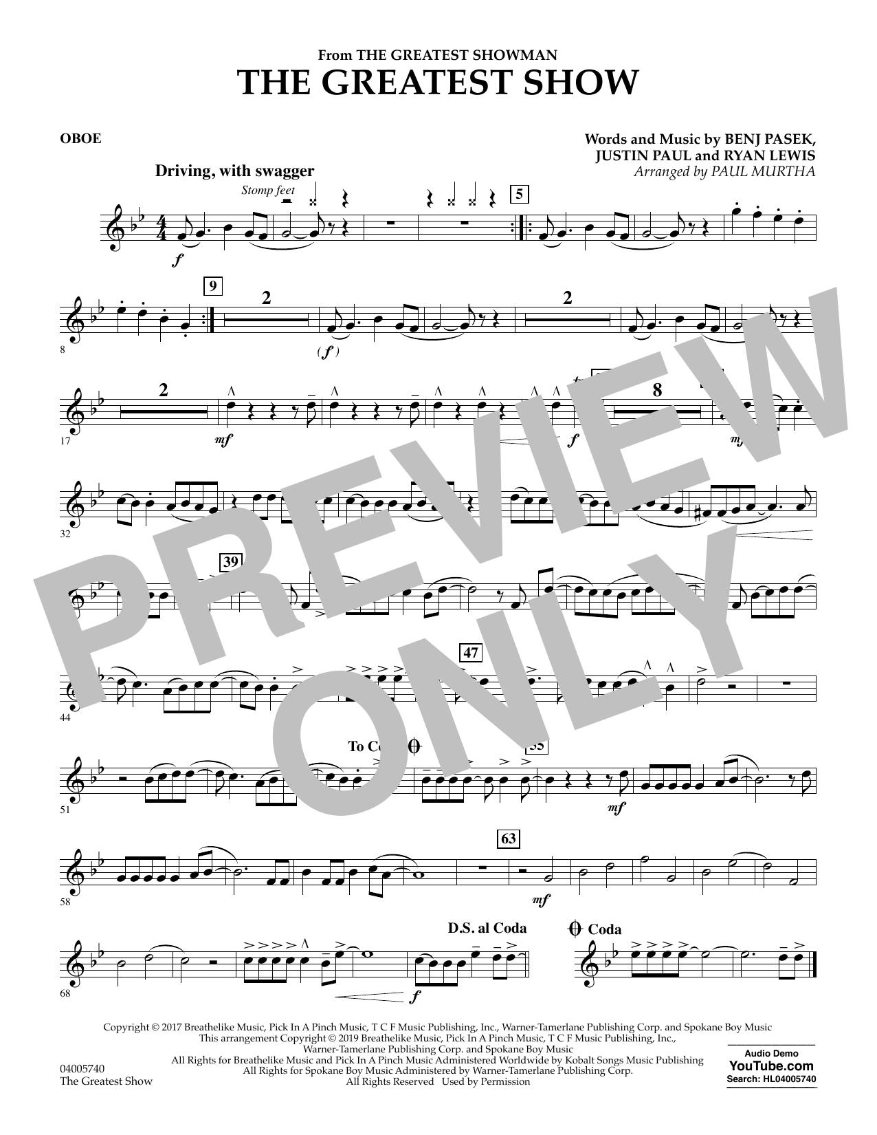The Greatest Show  (arr. Paul Murtha) - Oboe (Concert Band)