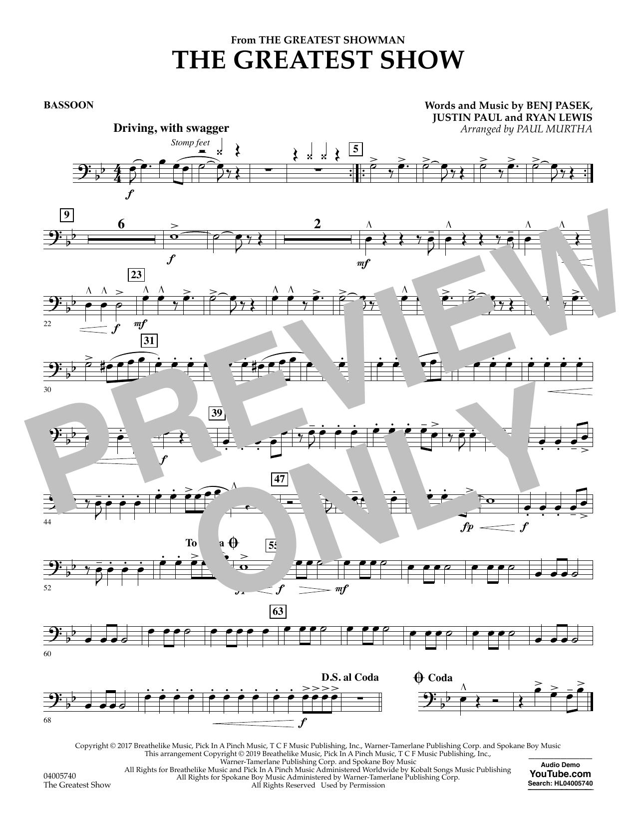 The Greatest Show  (arr. Paul Murtha) - Bassoon (Concert Band)