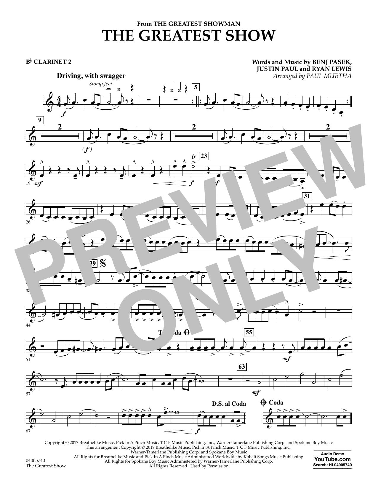 The Greatest Show  (arr. Paul Murtha) - Bb Clarinet 2 (Concert Band)