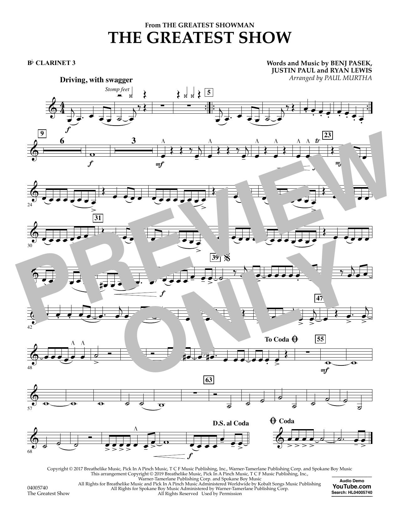 The Greatest Show  (arr. Paul Murtha) - Bb Clarinet 3 (Concert Band)