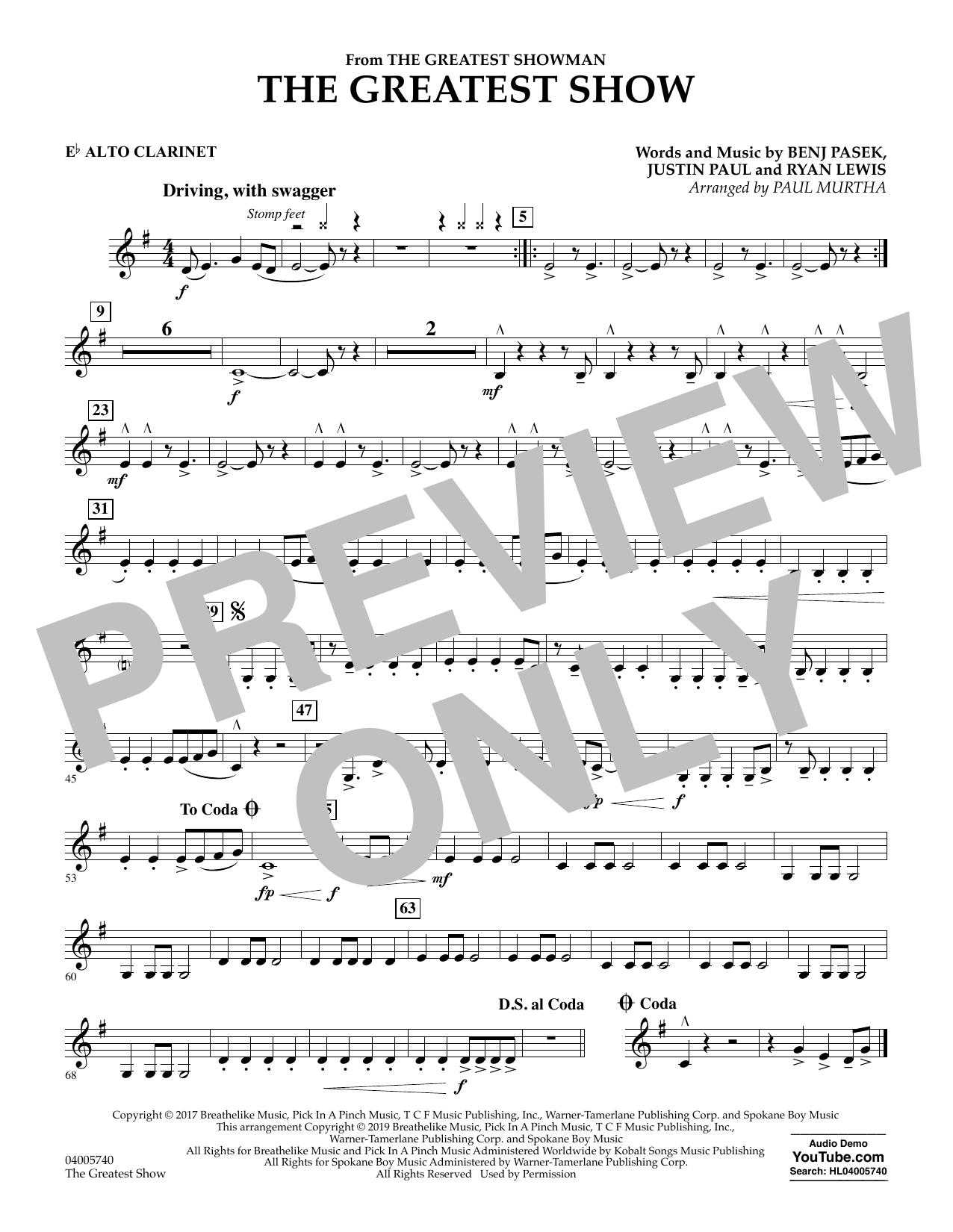 The Greatest Show  (arr. Paul Murtha) - Eb Alto Clarinet (Concert Band)