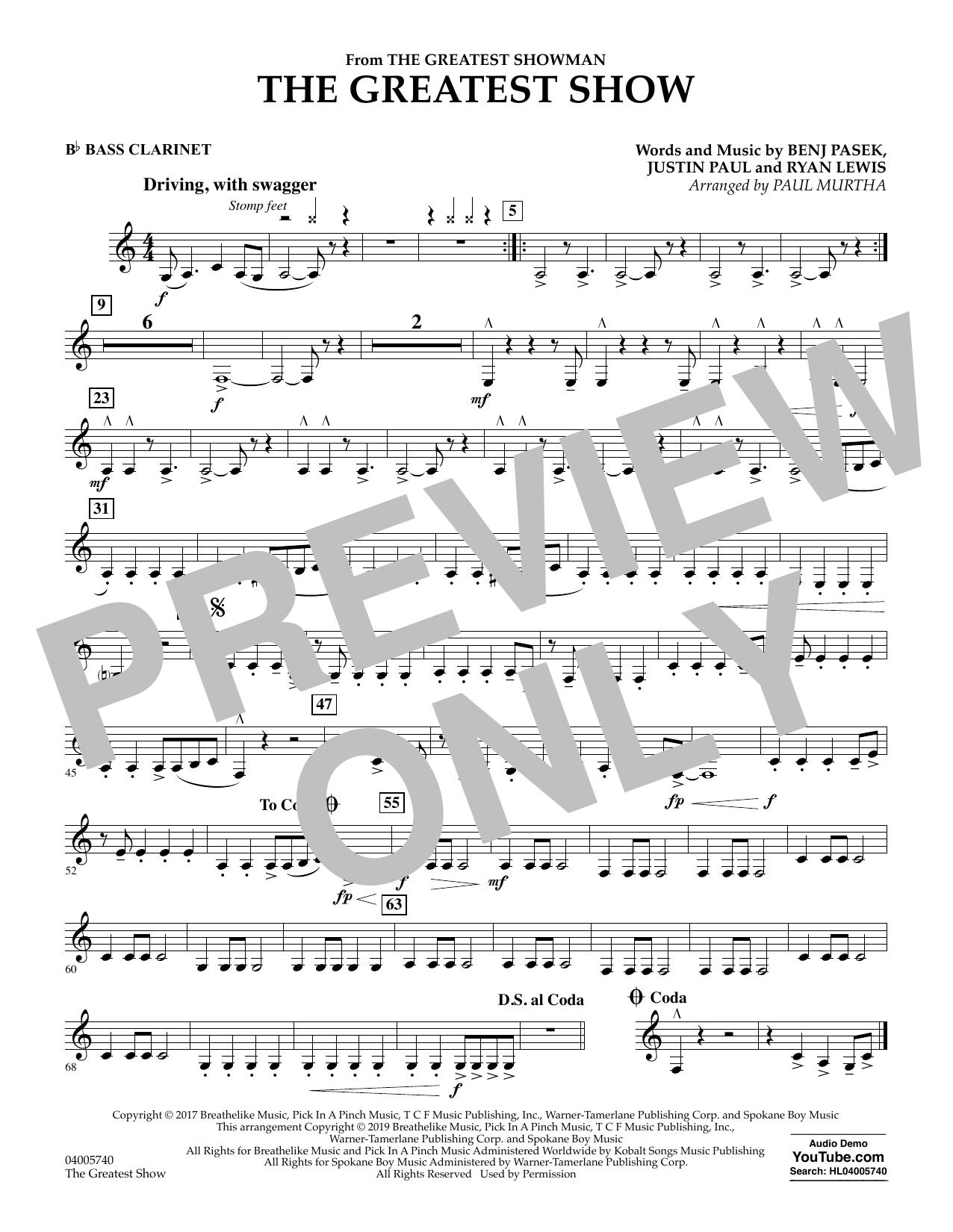 The Greatest Show  (arr. Paul Murtha) - Bb Bass Clarinet (Concert Band)