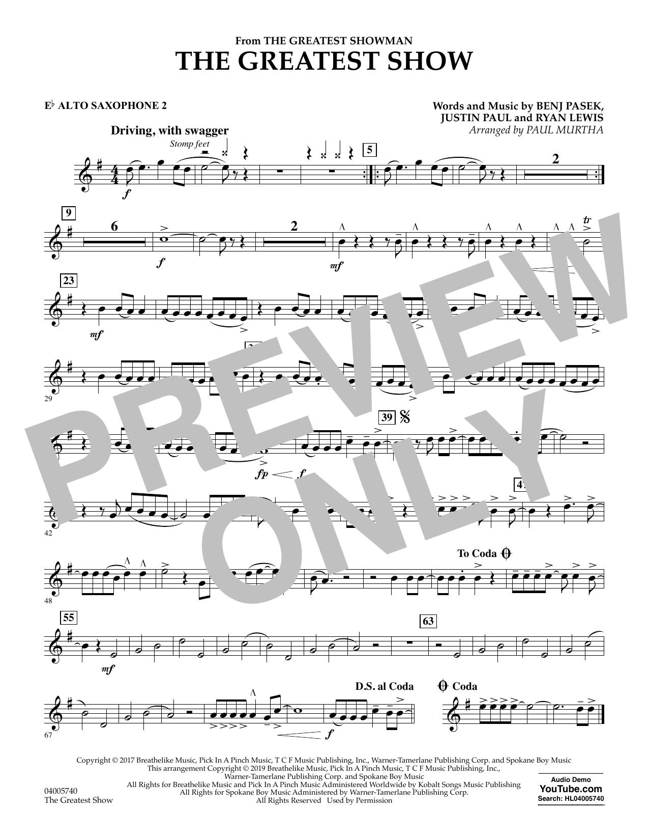 The Greatest Show  (arr. Paul Murtha) - Eb Alto Saxophone 2 (Concert Band)