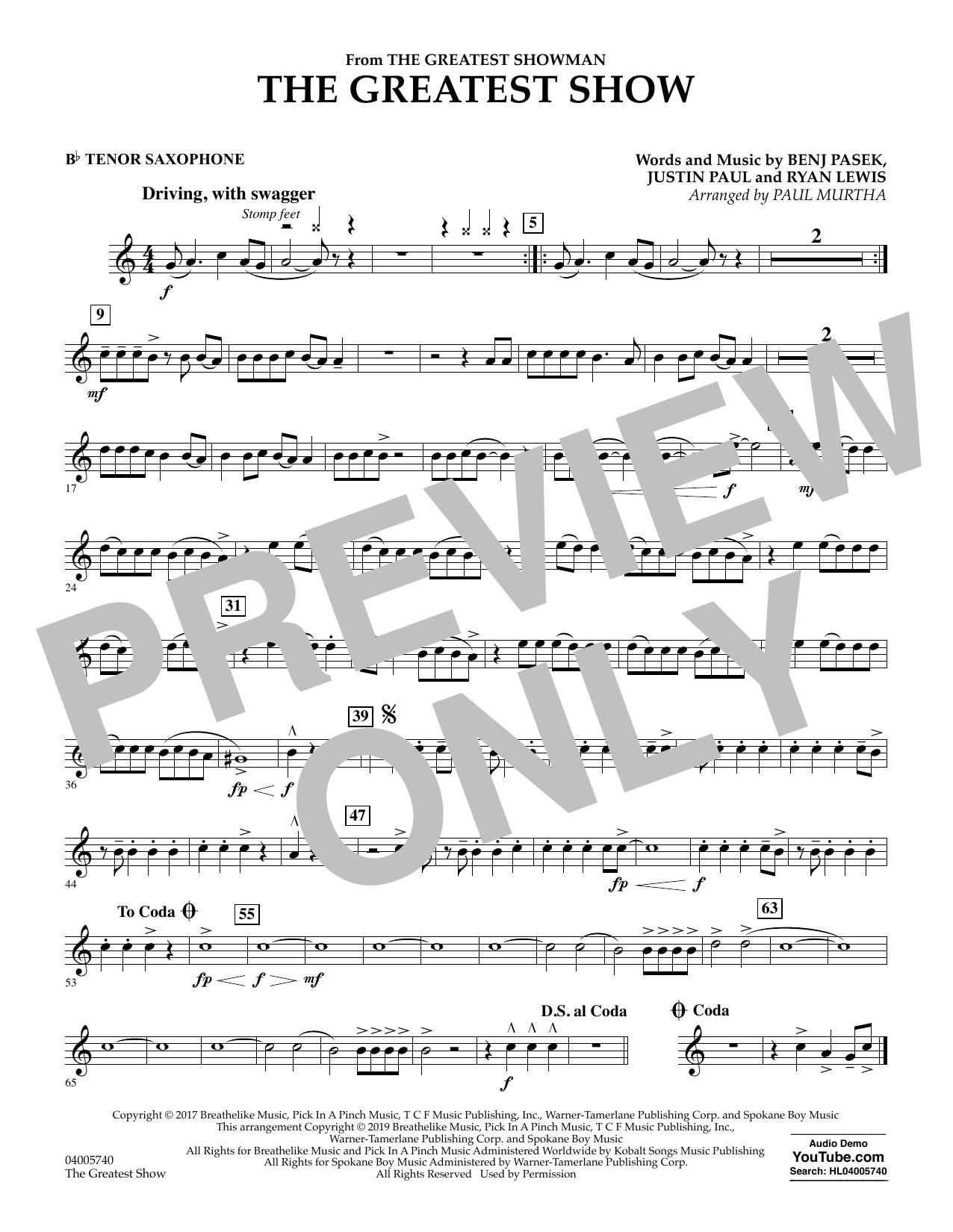 The Greatest Show  (arr. Paul Murtha) - Bb Tenor Saxophone (Concert Band)