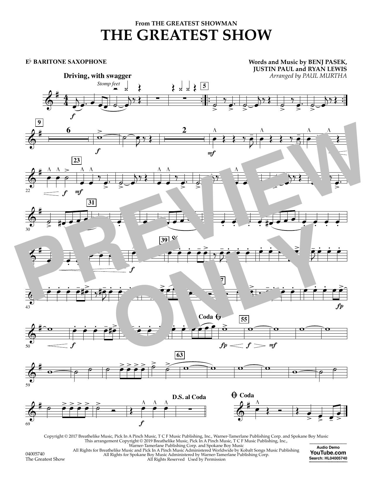 The Greatest Show  (arr. Paul Murtha) - Eb Baritone Saxophone (Concert Band)