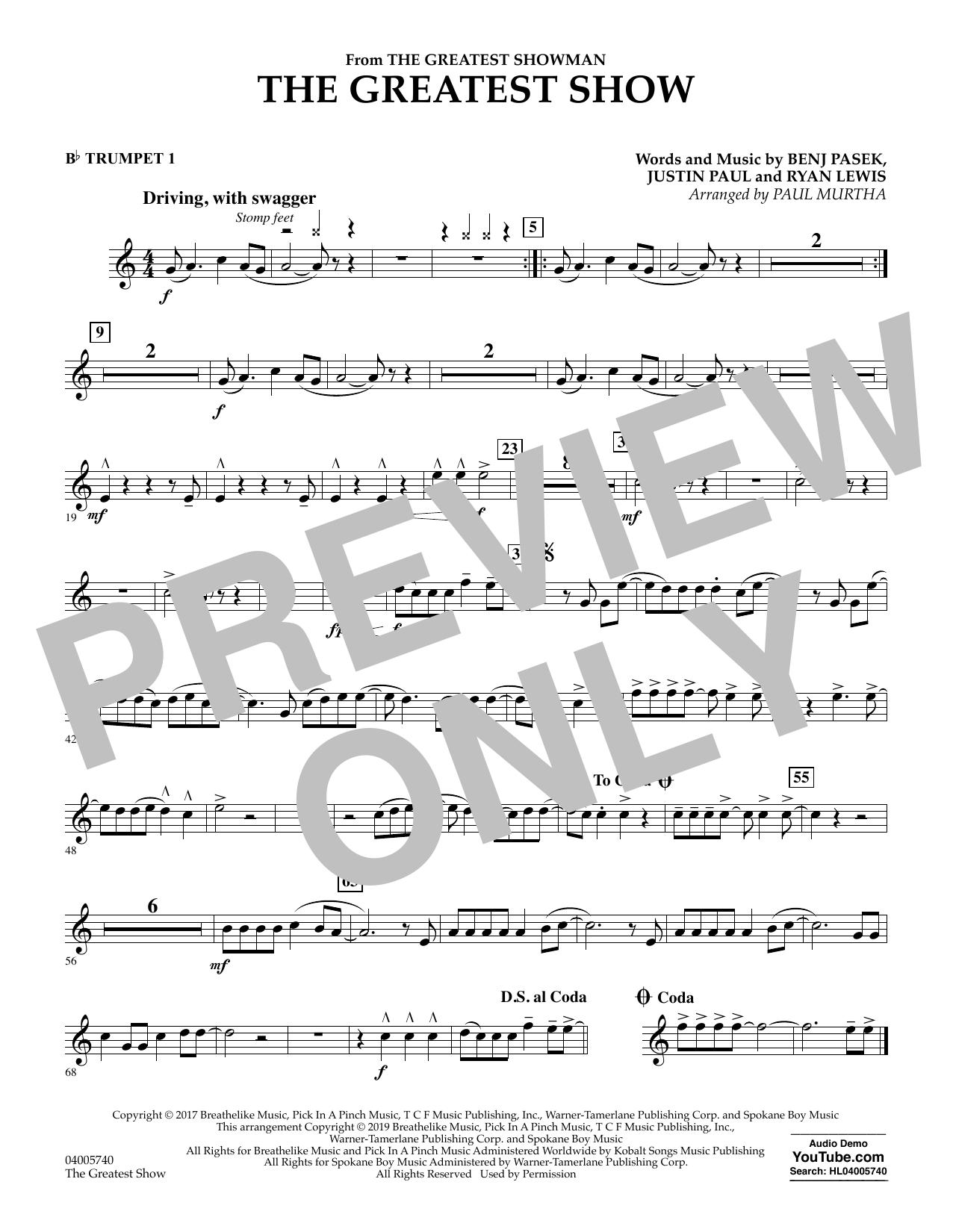 The Greatest Show  (arr. Paul Murtha) - Bb Trumpet 1 (Concert Band)