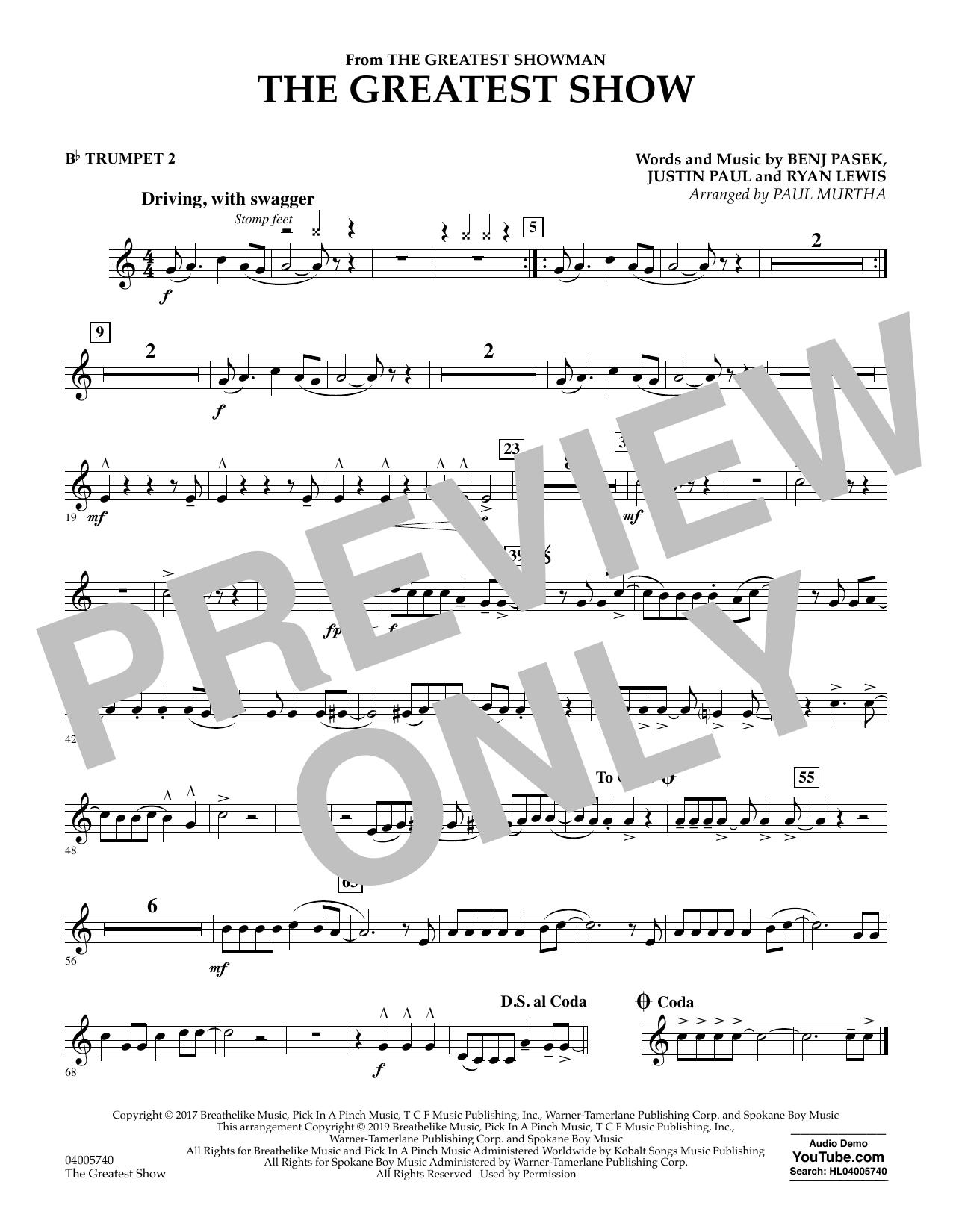 The Greatest Show  (arr. Paul Murtha) - Bb Trumpet 2 (Concert Band)