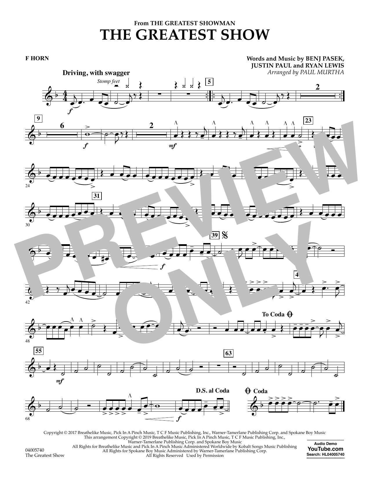The Greatest Show  (arr. Paul Murtha) - F Horn (Concert Band)