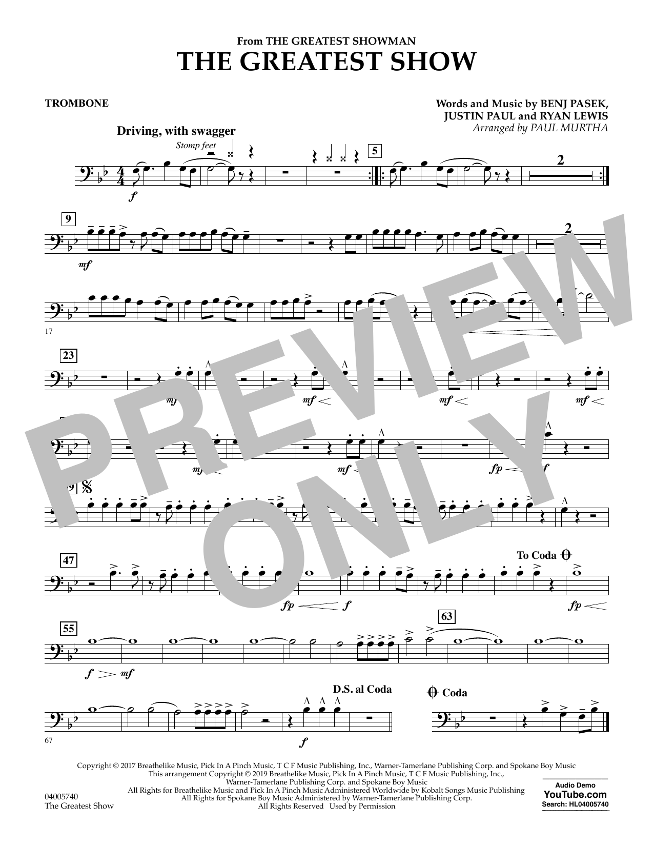 The Greatest Show  (arr. Paul Murtha) - Trombone (Concert Band)