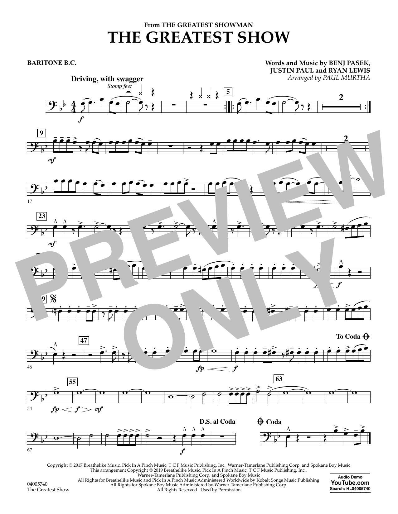 The Greatest Show  (arr. Paul Murtha) - Baritone B.C. (Concert Band)