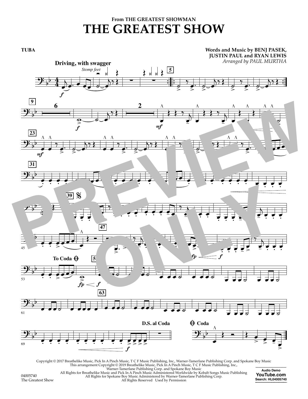 The Greatest Show  (arr. Paul Murtha) - Tuba (Concert Band)