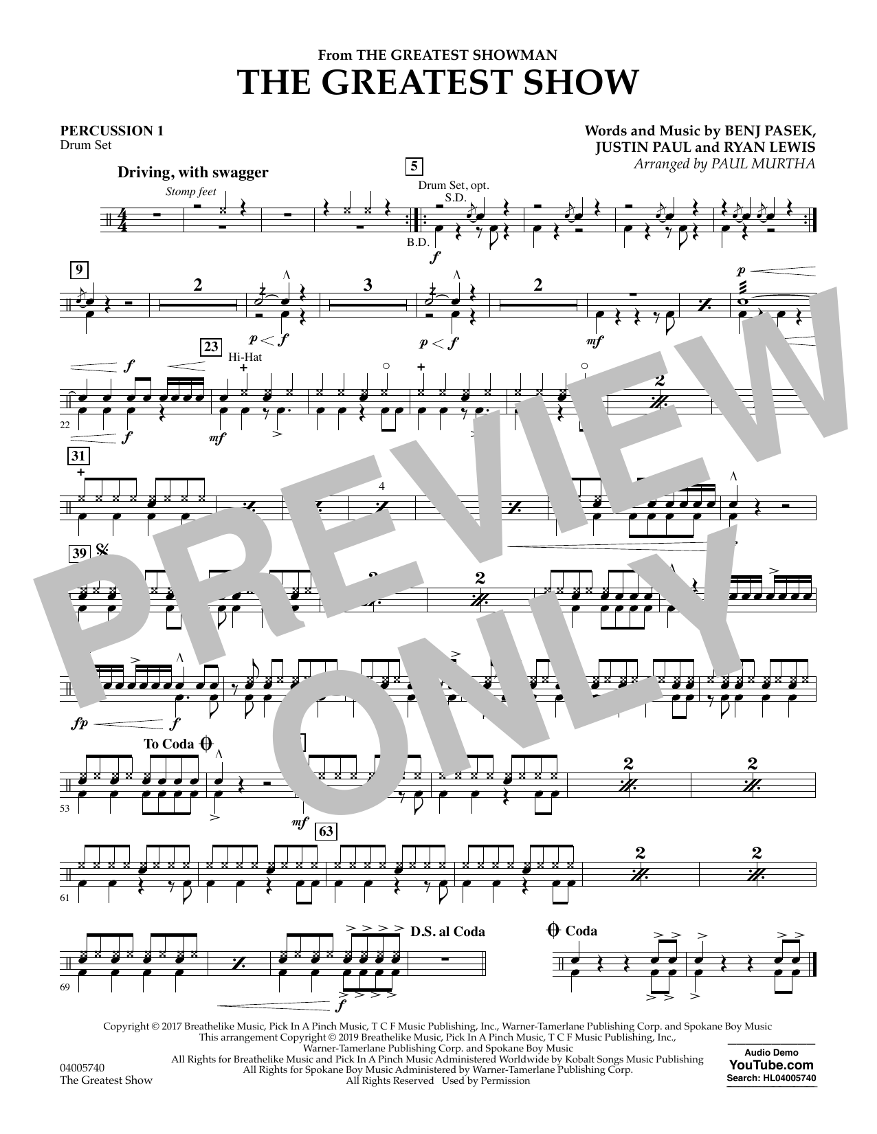 The Greatest Show  (arr. Paul Murtha) - Percussion 1 (Concert Band)