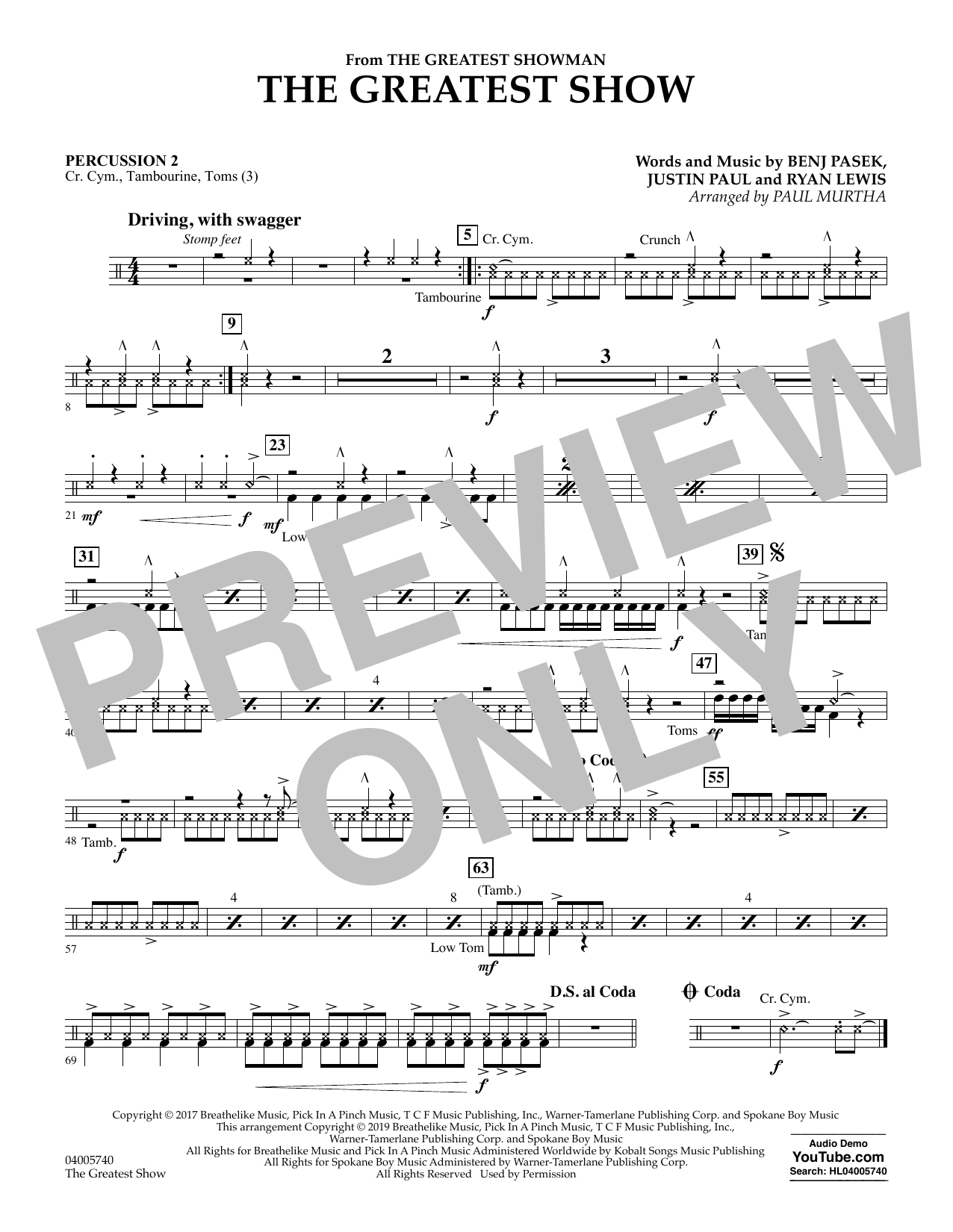 The Greatest Show  (arr. Paul Murtha) - Percussion 2 (Concert Band)