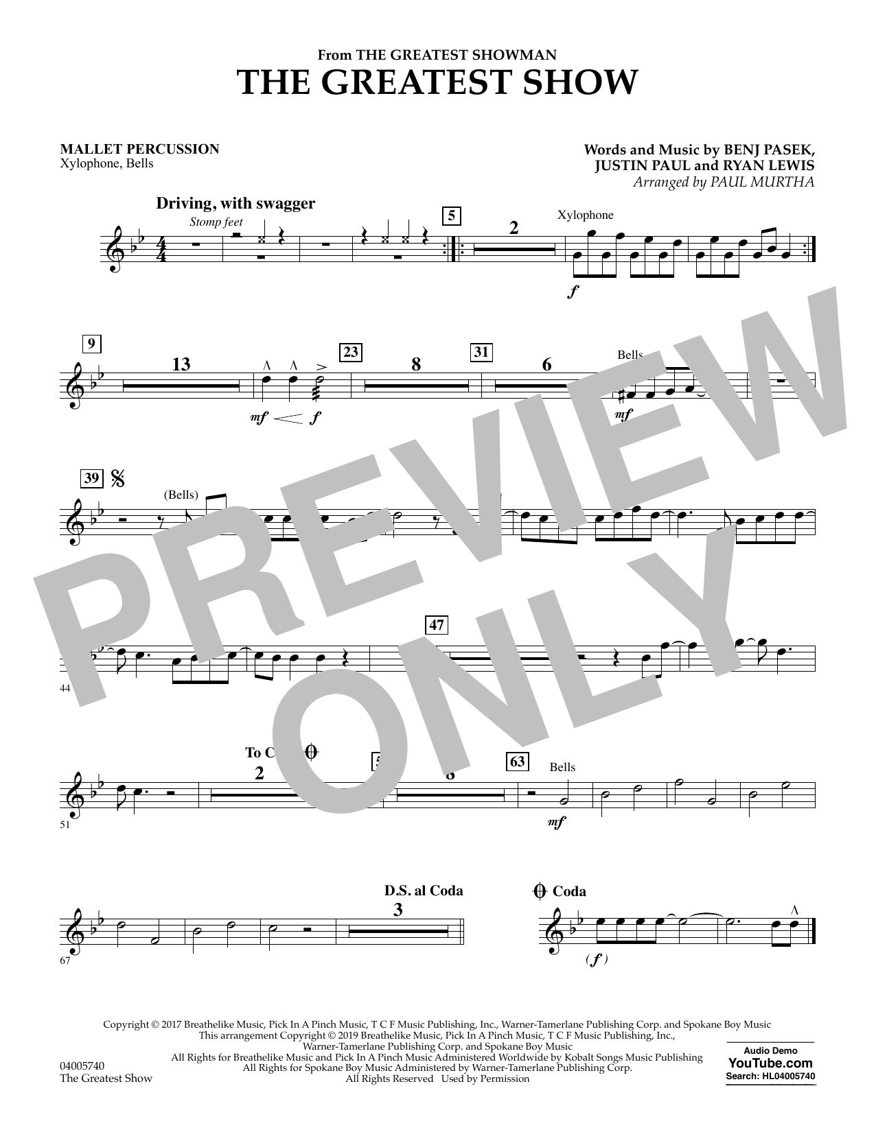 The Greatest Show  (arr. Paul Murtha) - Mallet Percussion (Concert Band)
