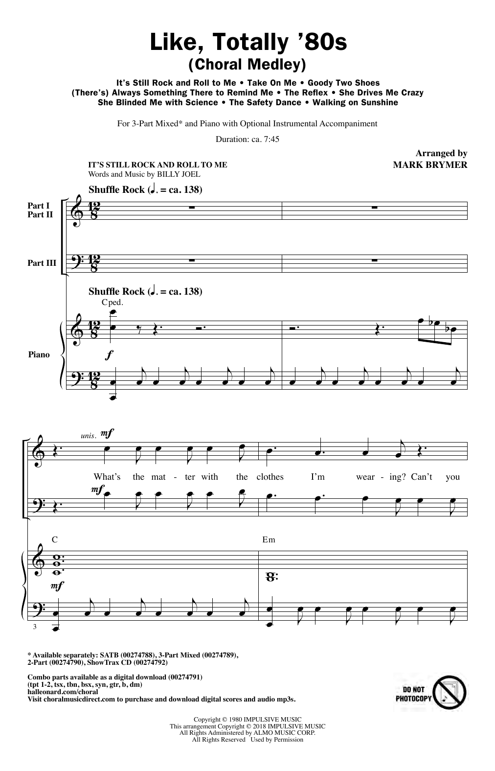Like, Totally '80s (arr. Mark Brymer) (3-Part Mixed Choir)
