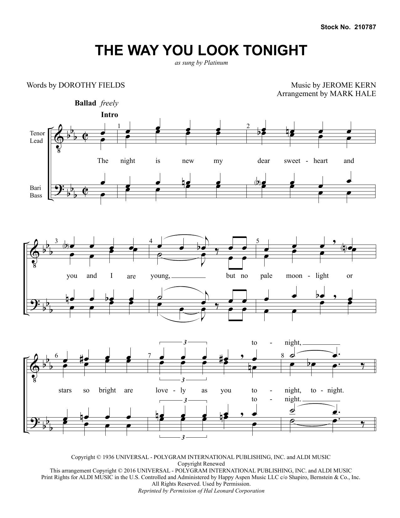 The Way You Look Tonight (arr. Mark Hale) Sheet Music