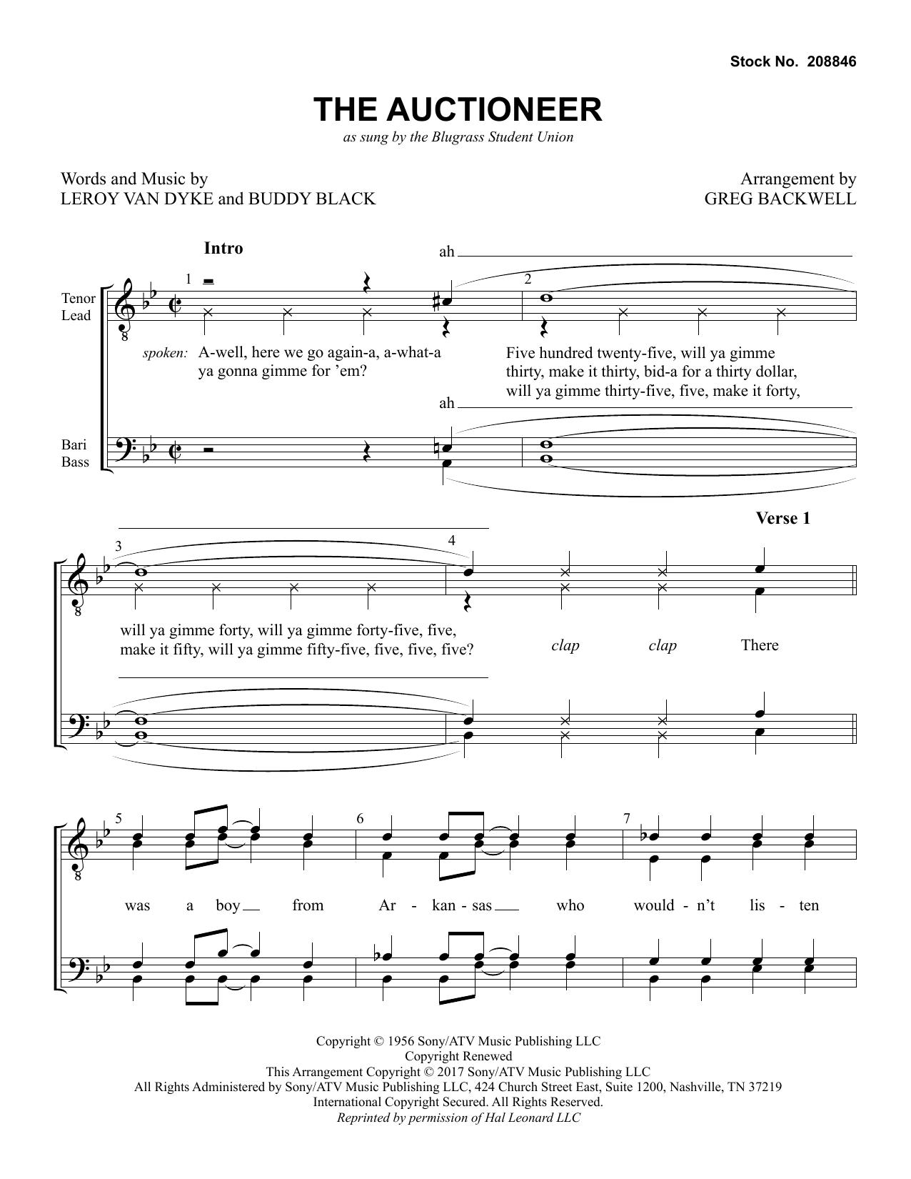 The Auctioneer Arr Greg Blackwell By Bluegrass Student Union Ttbb Choir Digital Sheet Music