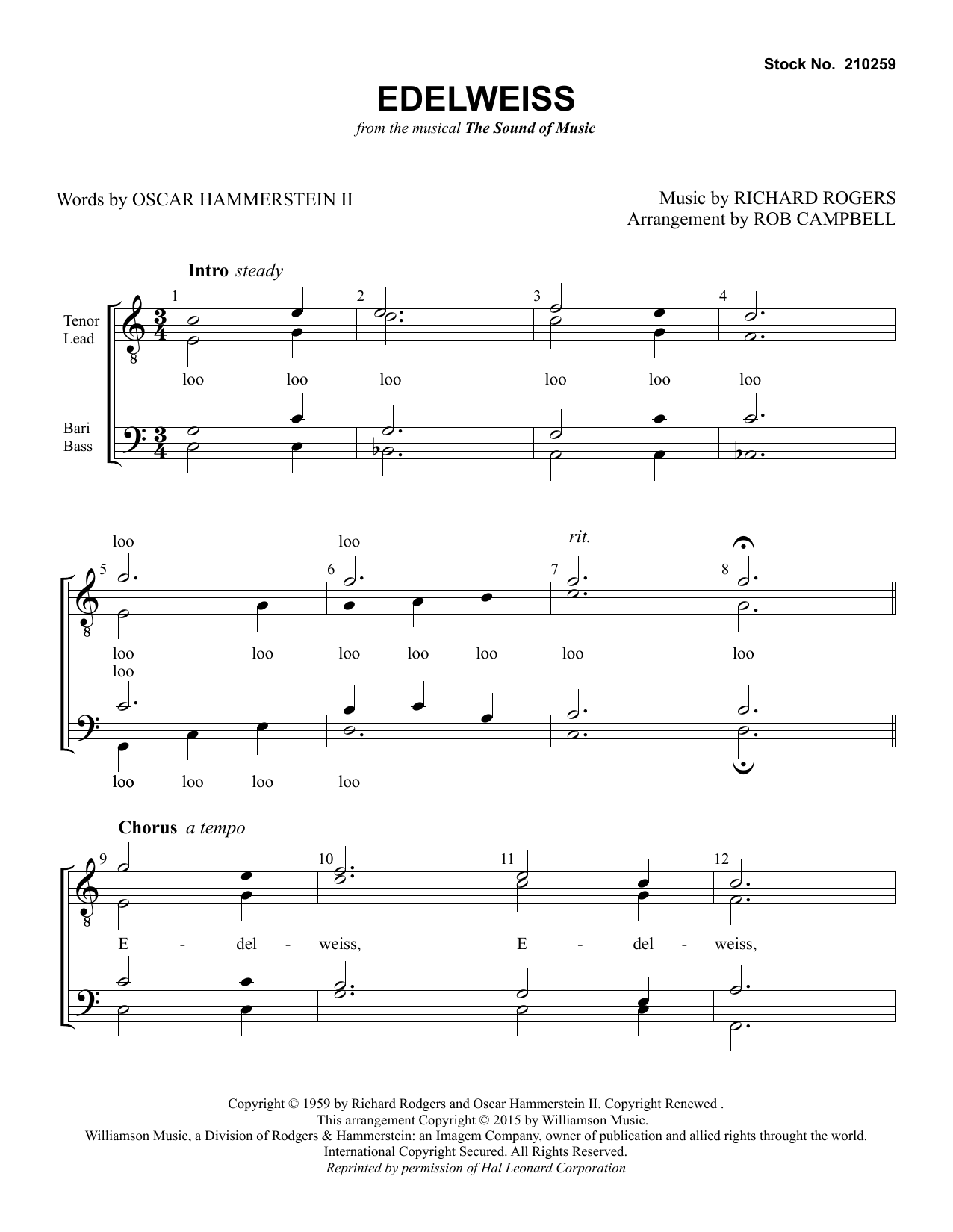 Edelweiss (from The Sound of Music) (arr. Rob Campbell) Partition Digitale