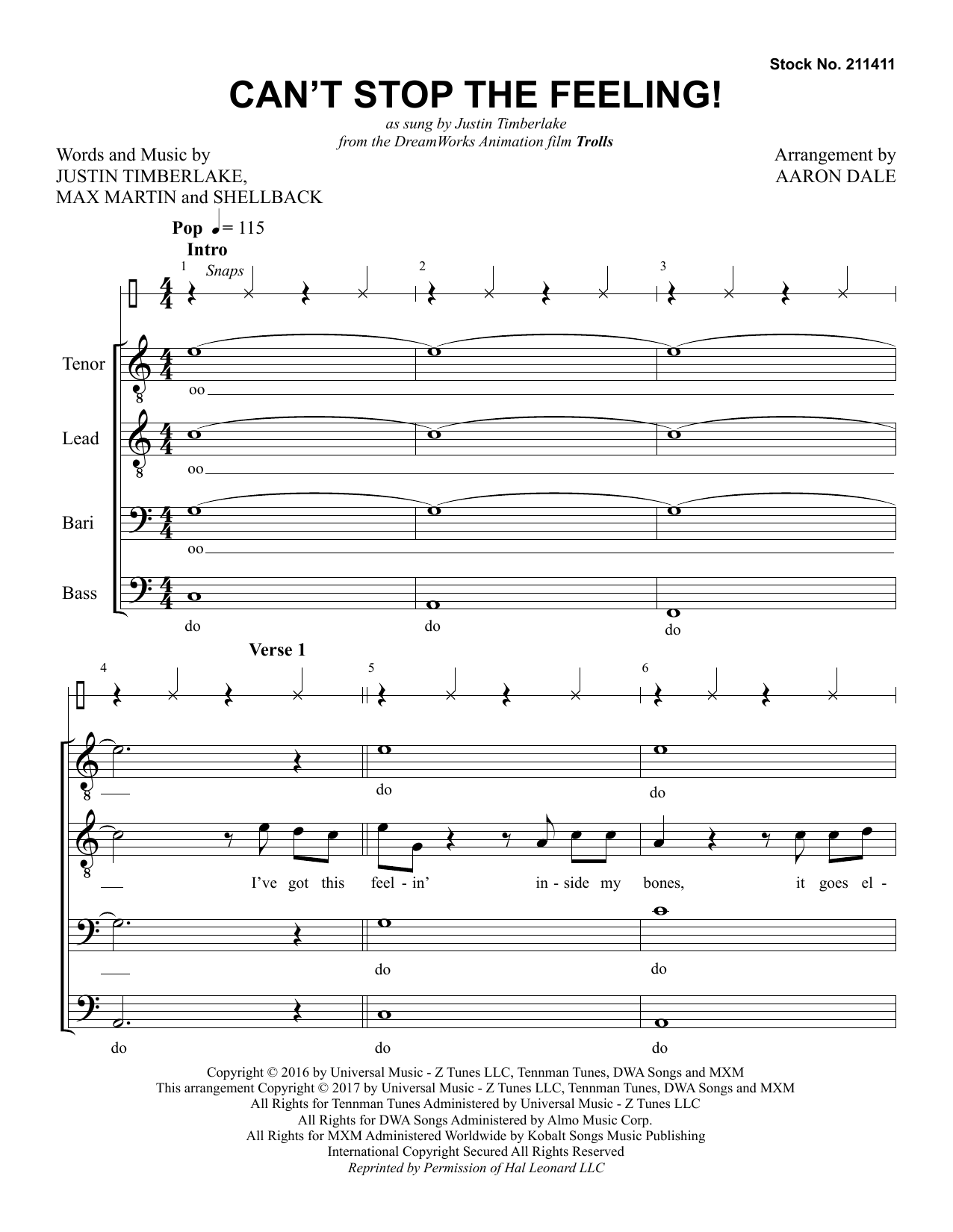 Can't Stop the Feeling! (arr. Aaron Dale) Partition Digitale