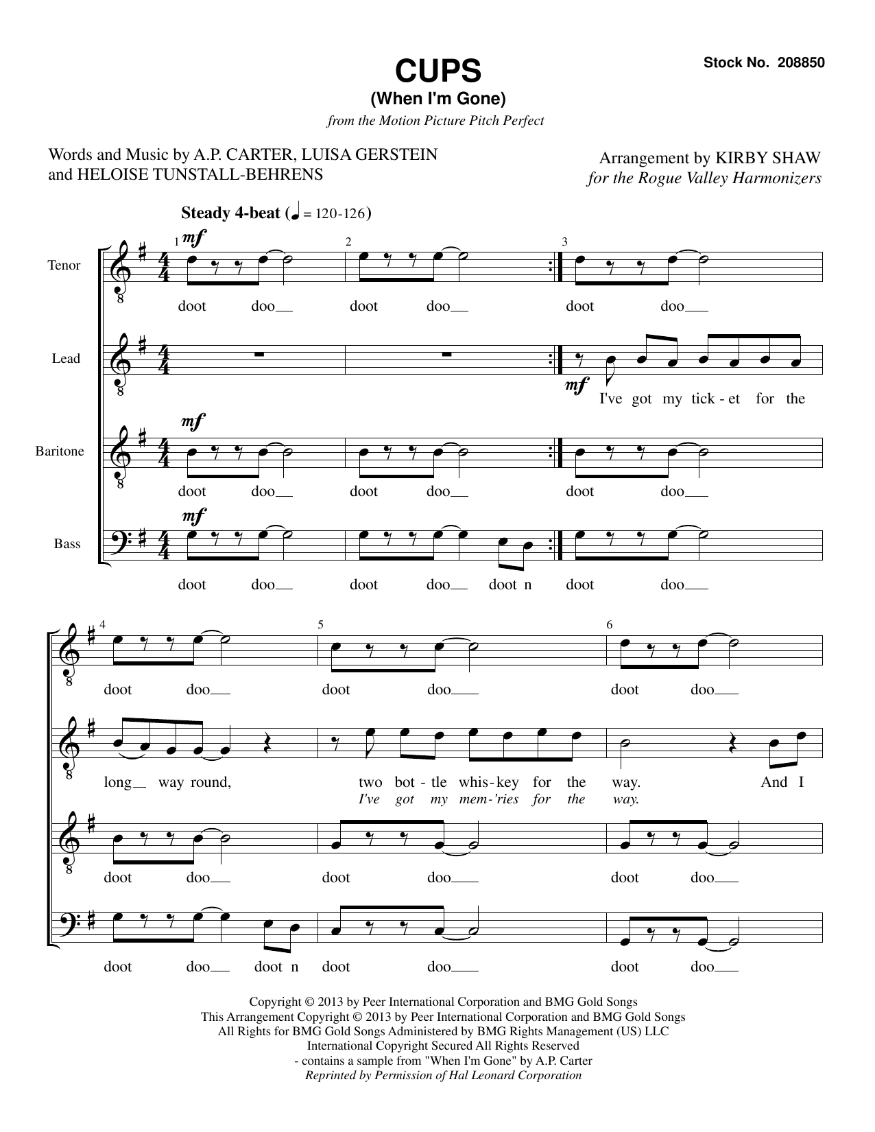 Cups (When I'm Gone) (from Pitch Perfect) (arr. Kirby Shaw) Partition Digitale
