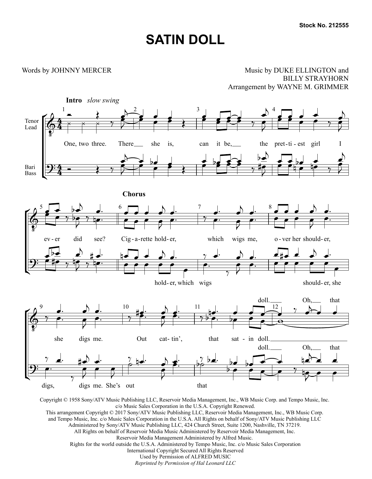 Satin Doll (arr. Wayne Grimmer) Partition Digitale