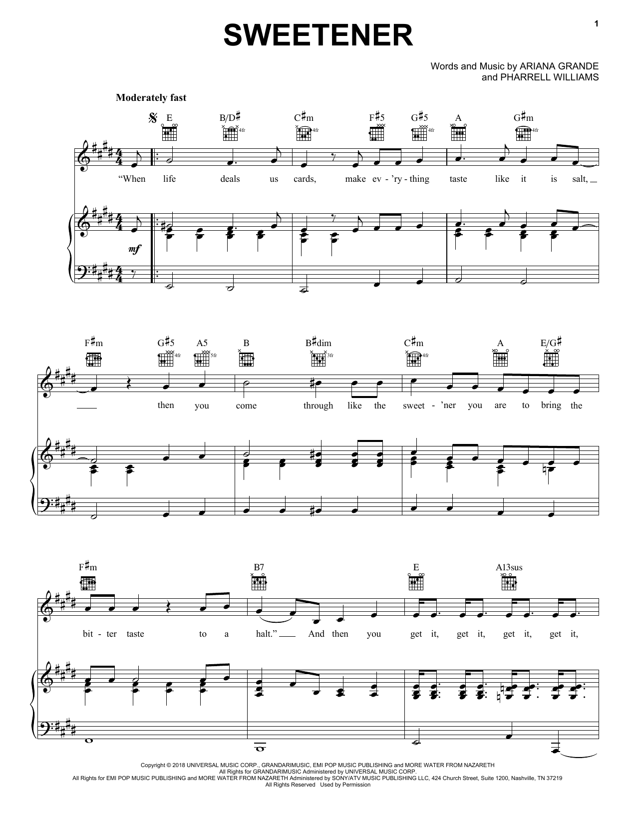 sweetener (Piano, Vocal & Guitar (Right-Hand Melody))
