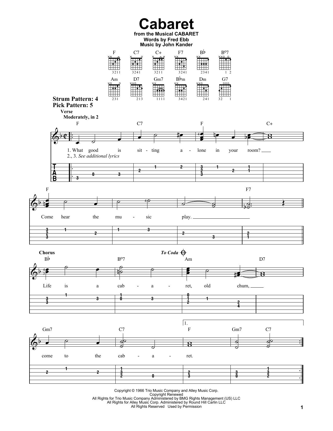 Cabaret (Easy Guitar Tab)