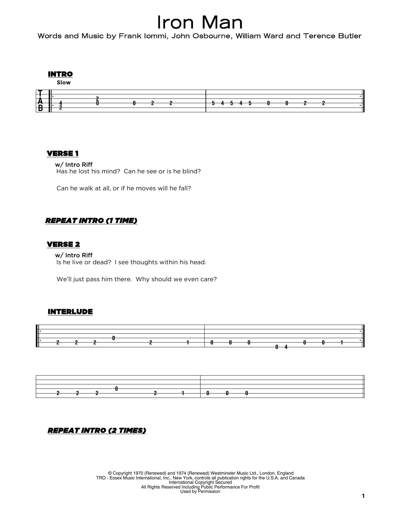Iron Man (Really Easy Guitar)