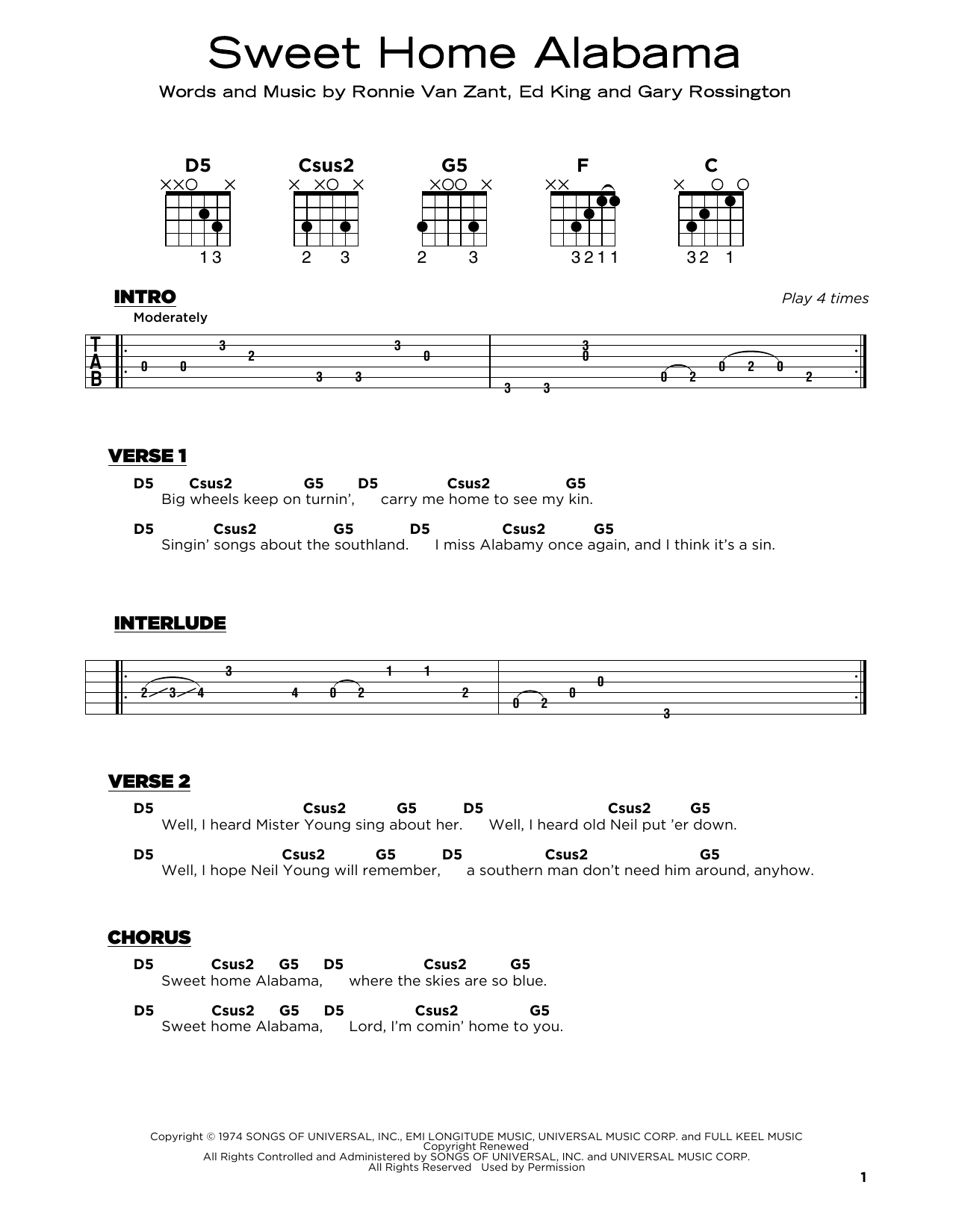 Sweet Home Alabama (Really Easy Guitar)