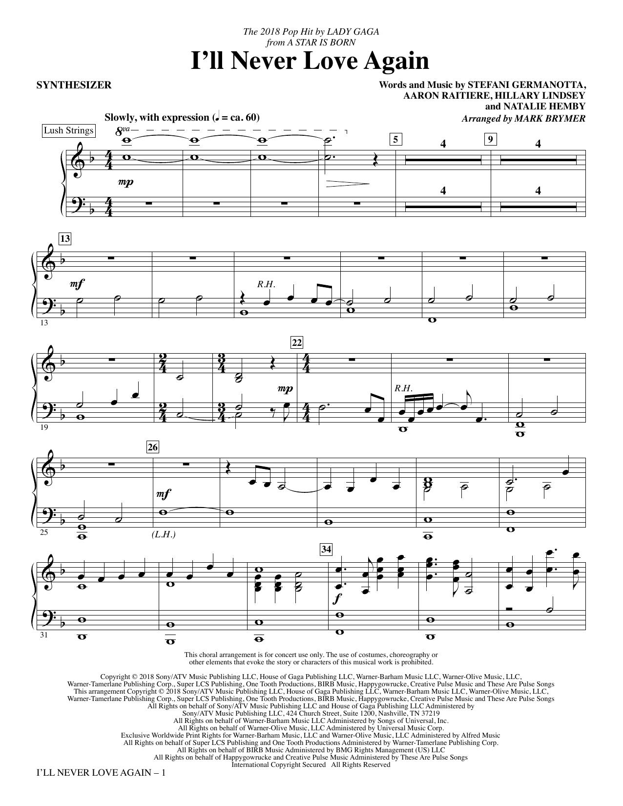I'll Never Love Again (from A Star Is Born) (arr. Mark Brymer) - Synthesizer (Choir Instrumental Pak)