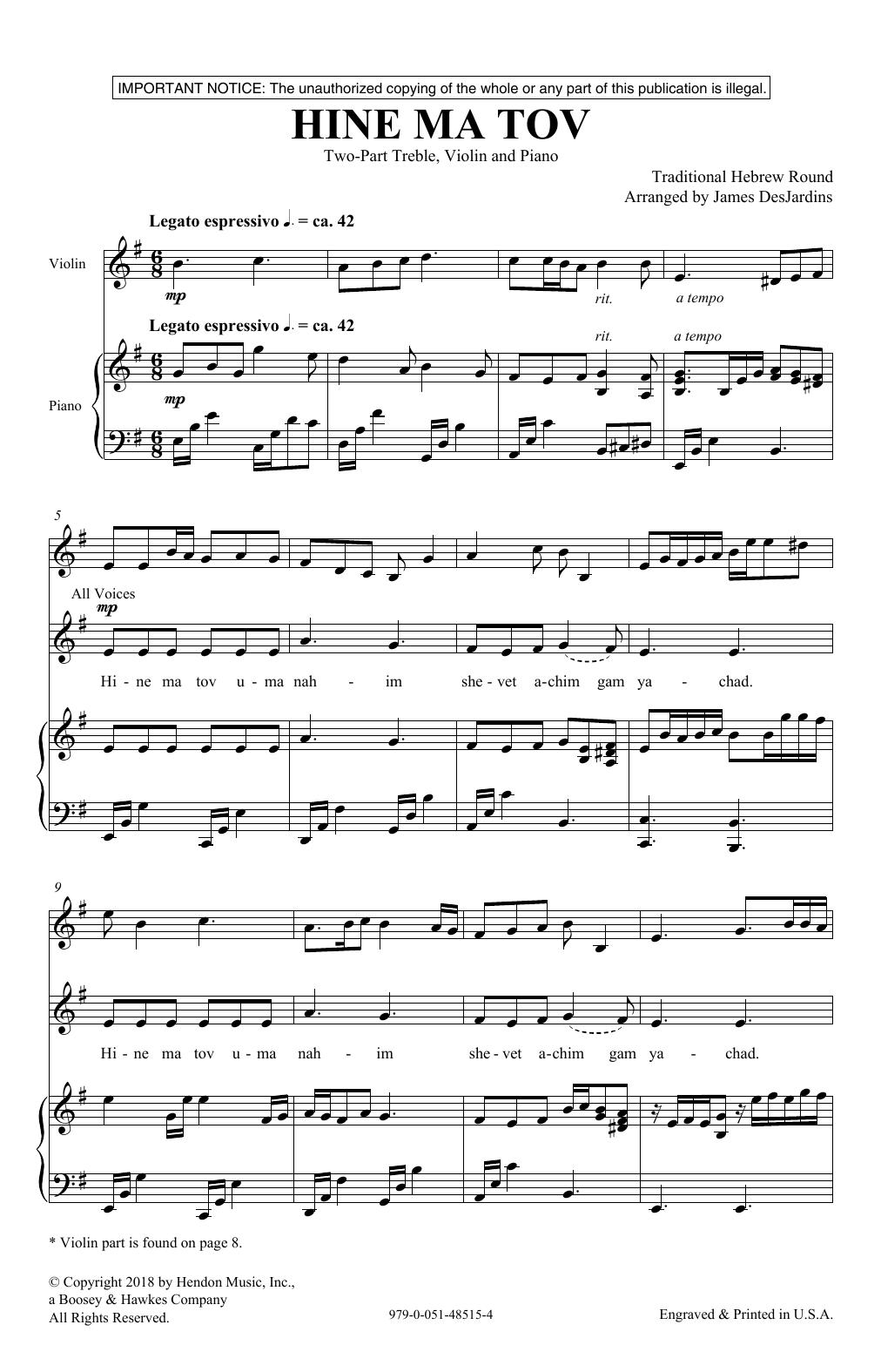 Hine Ma Tov (2-Part Choir)