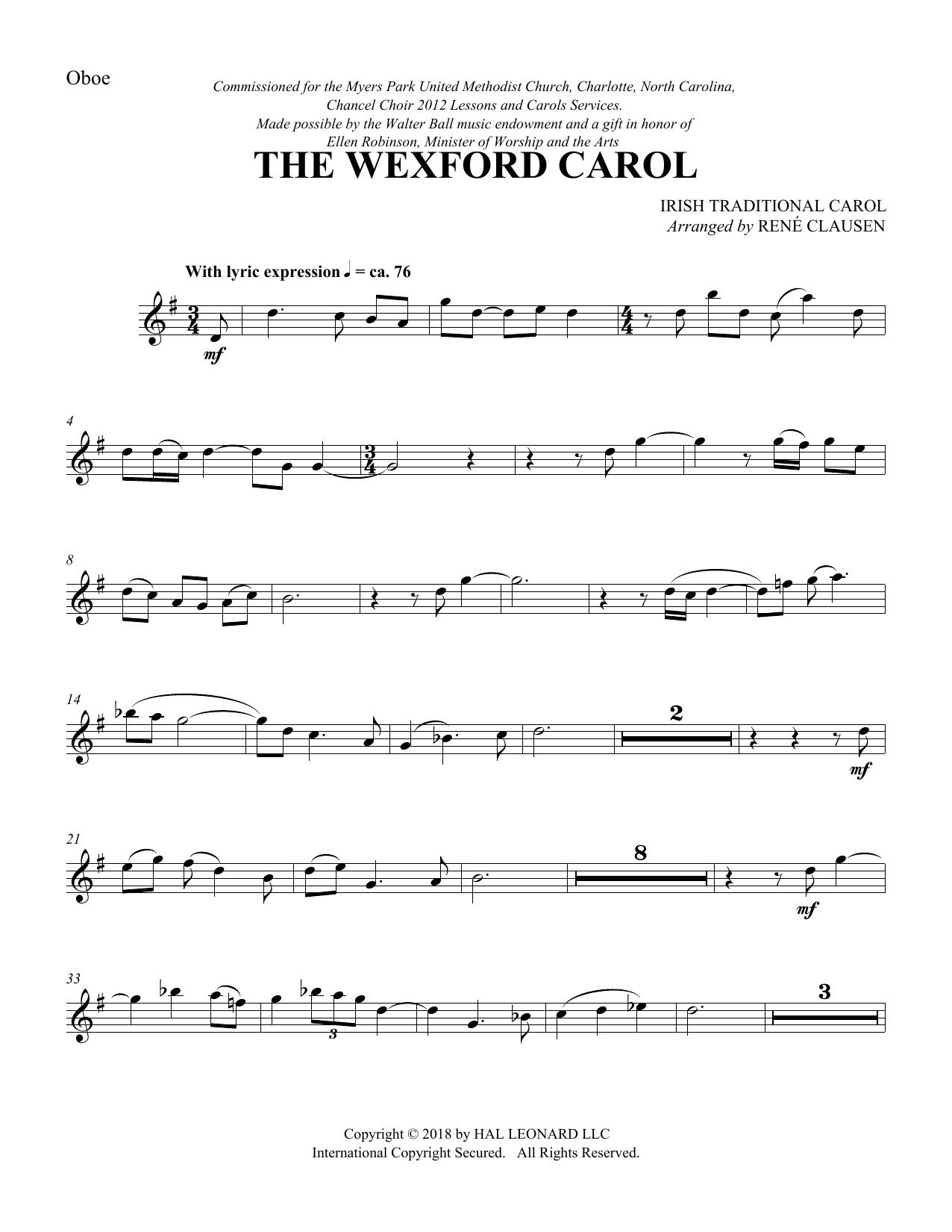 The Wexford Carol (arr. Rene Clausen) - Oboe (Choir Instrumental Pak)