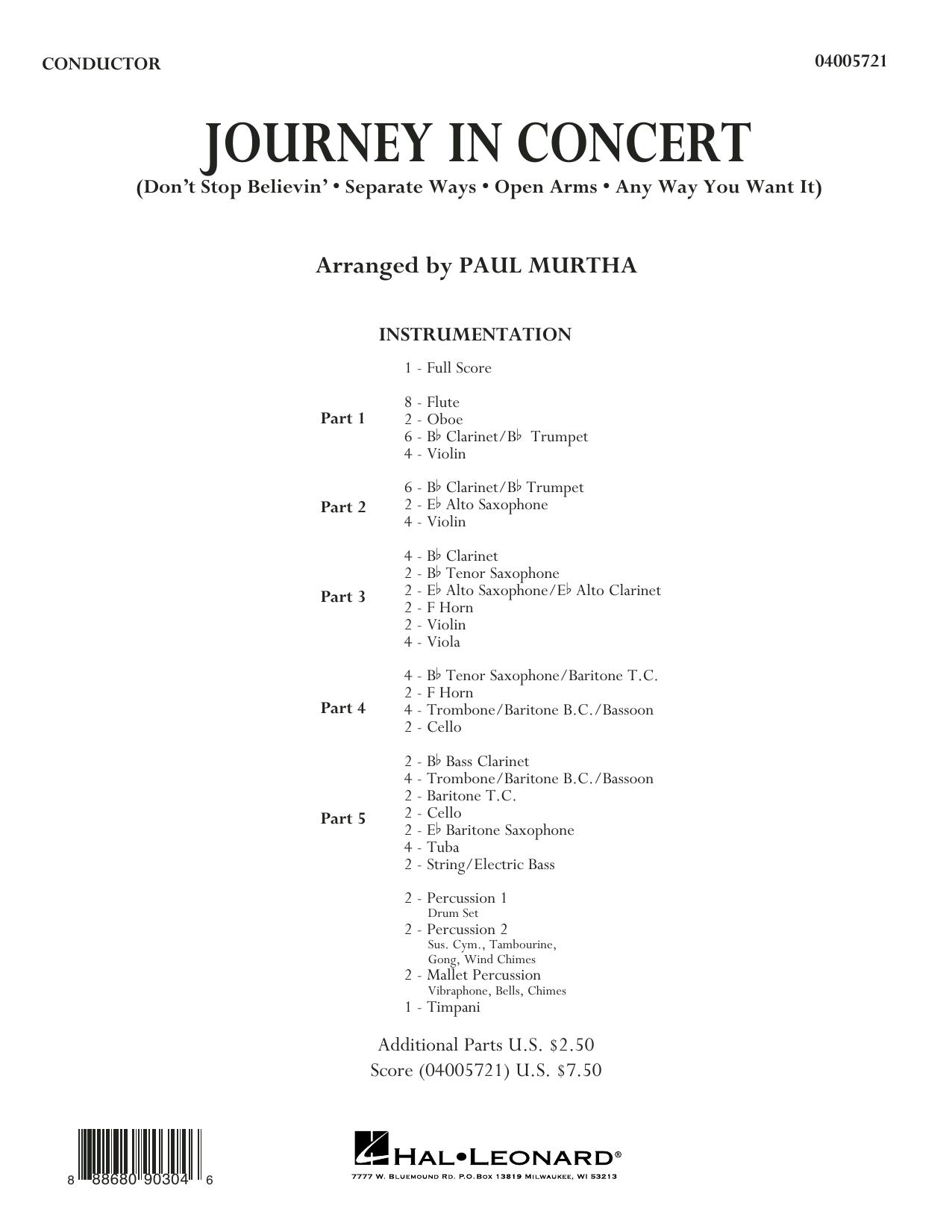 Journey in Concert (arr. Paul Murtha) - Conductor Score (Full Score) (Flex-Band)