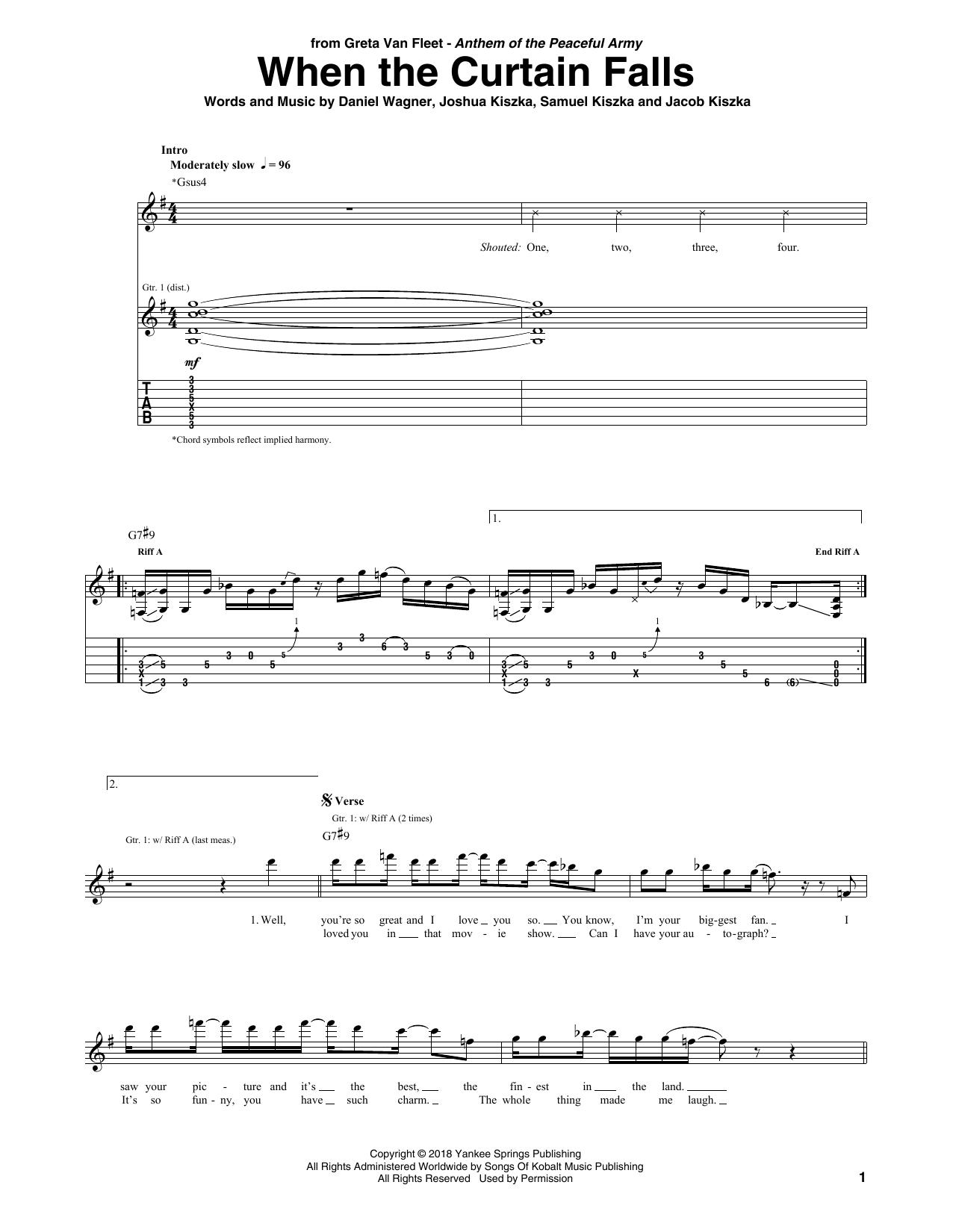 When The Curtain Falls (Guitar Tab)