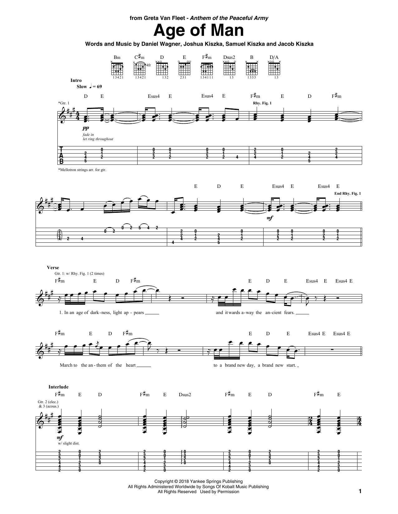 Age Of Man (Guitar Tab)