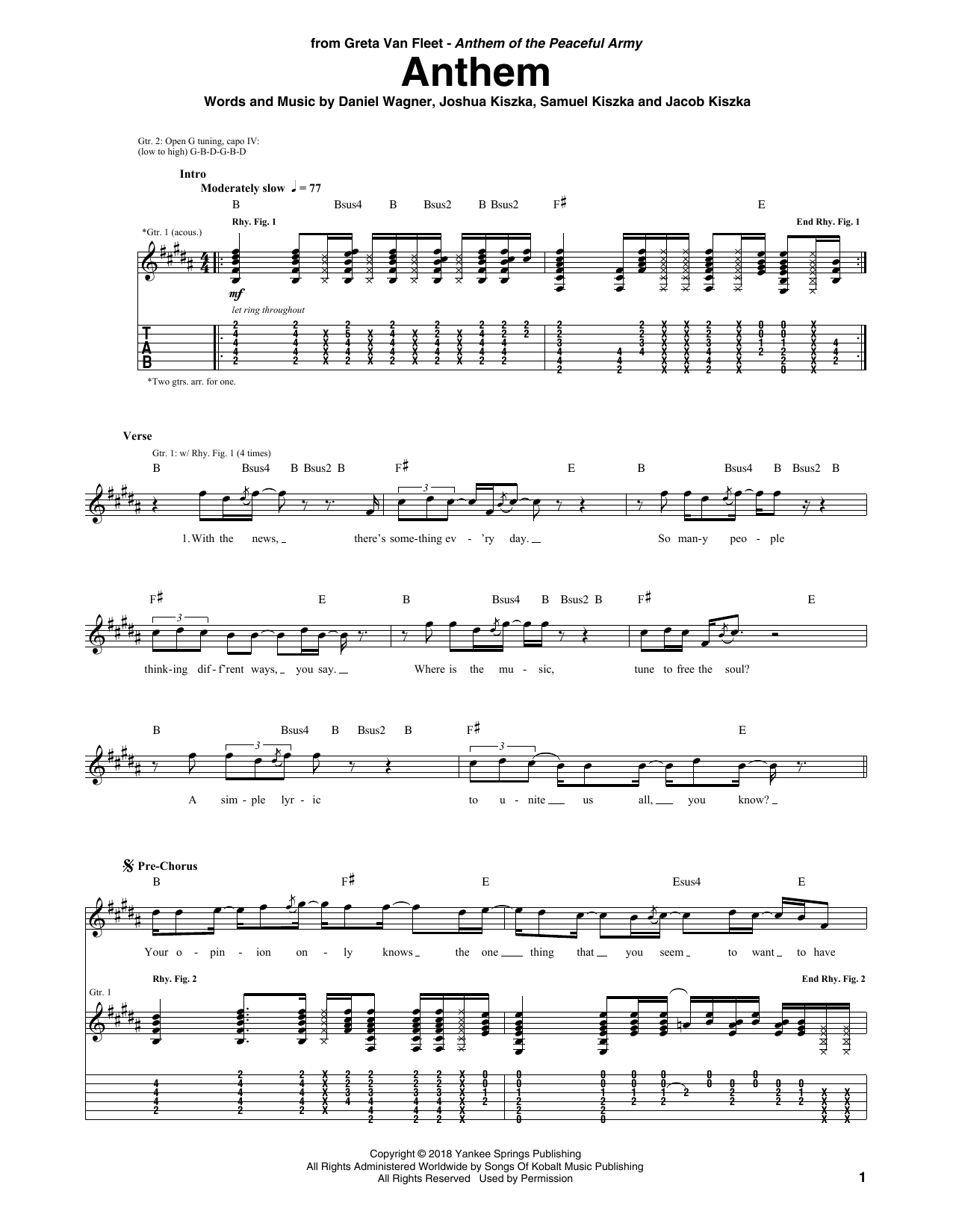 Anthem (Guitar Tab)