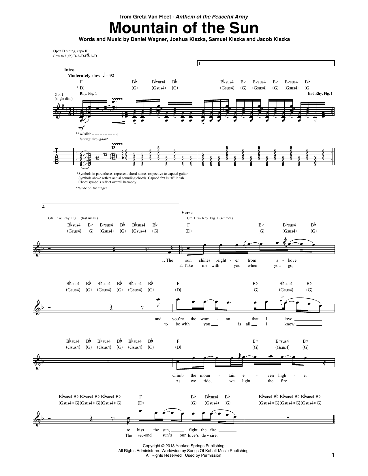 Mountain Of The Sun (Guitar Tab)