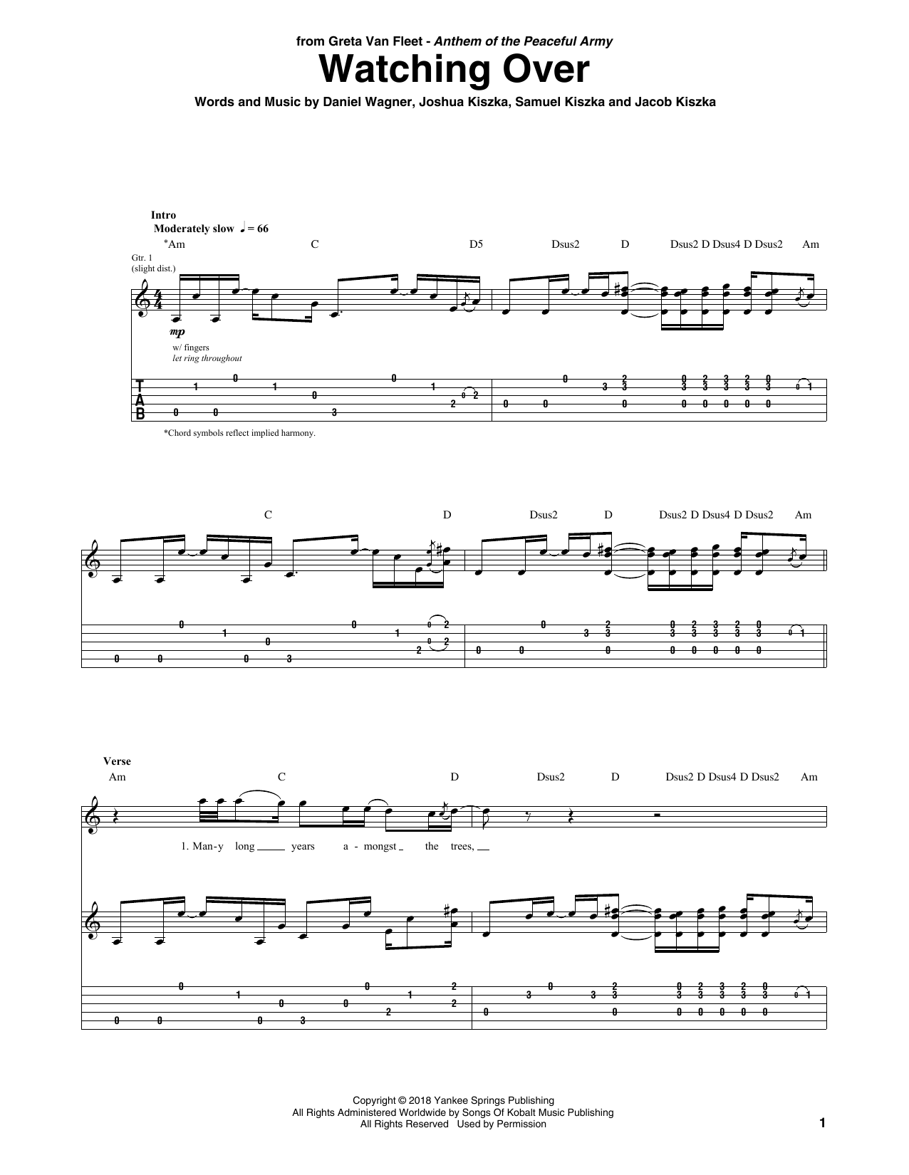Watching Over (Guitar Tab)