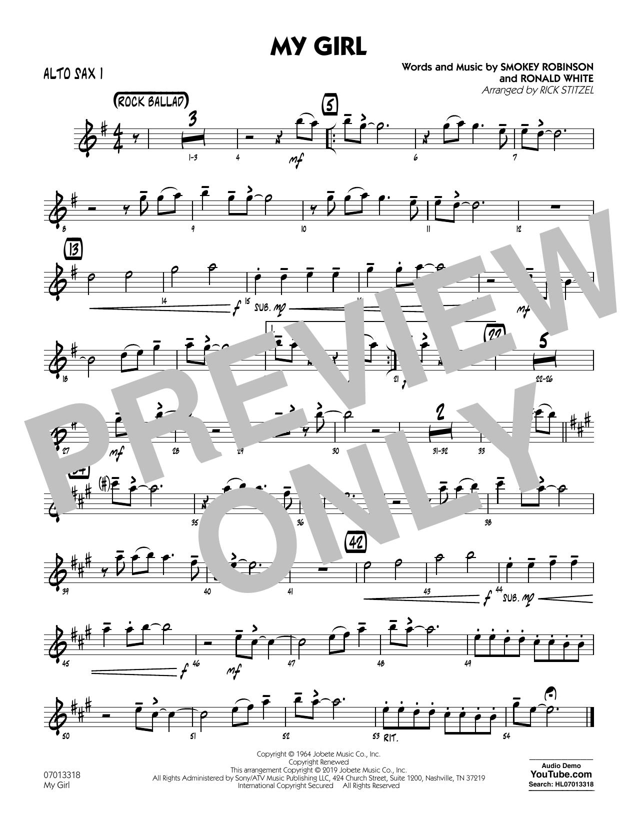 My Girl (arr. Rick Stitzel) - Alto Sax 1 (Jazz Ensemble)