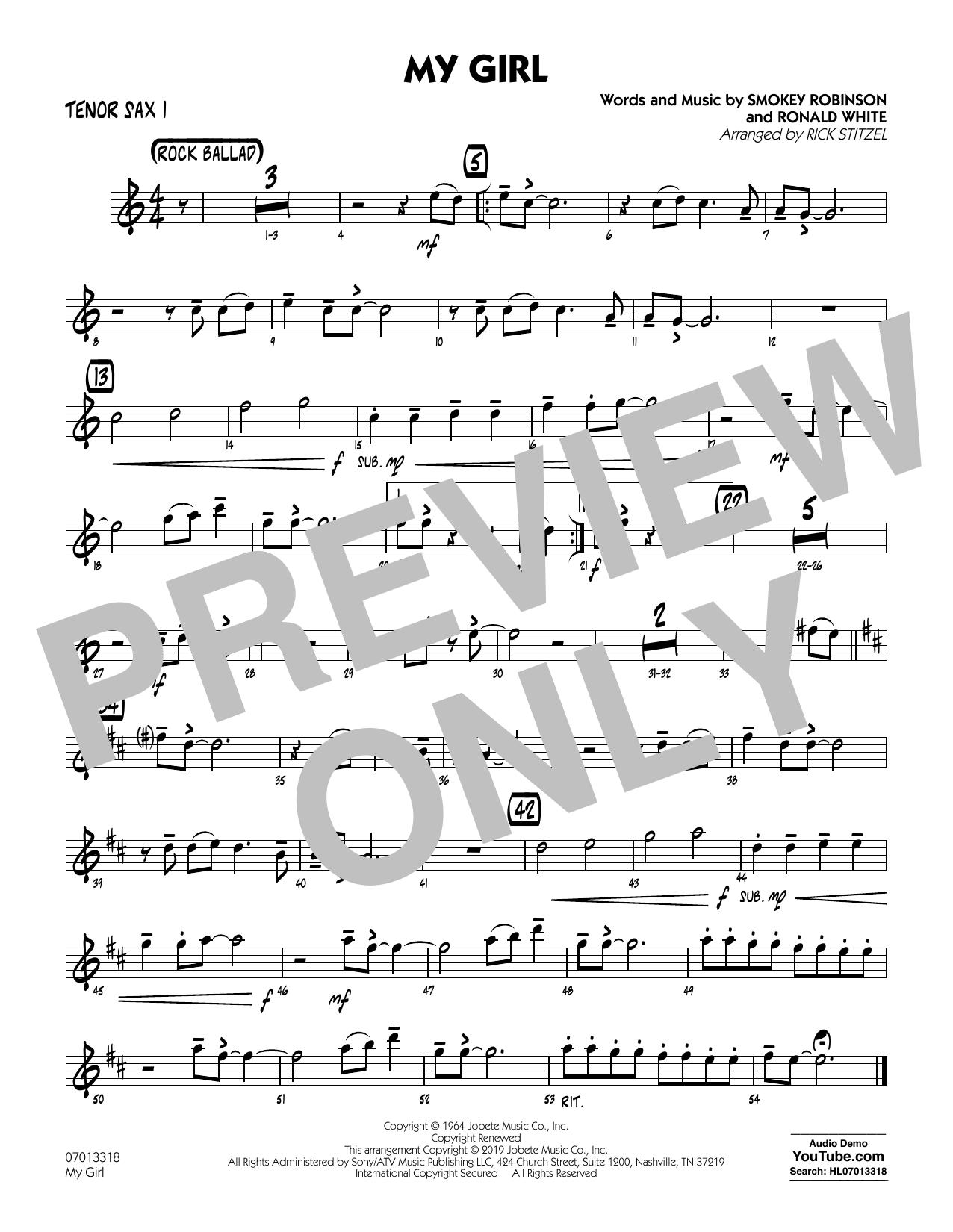 My Girl (arr. Rick Stitzel) - Tenor Sax 1 (Jazz Ensemble)