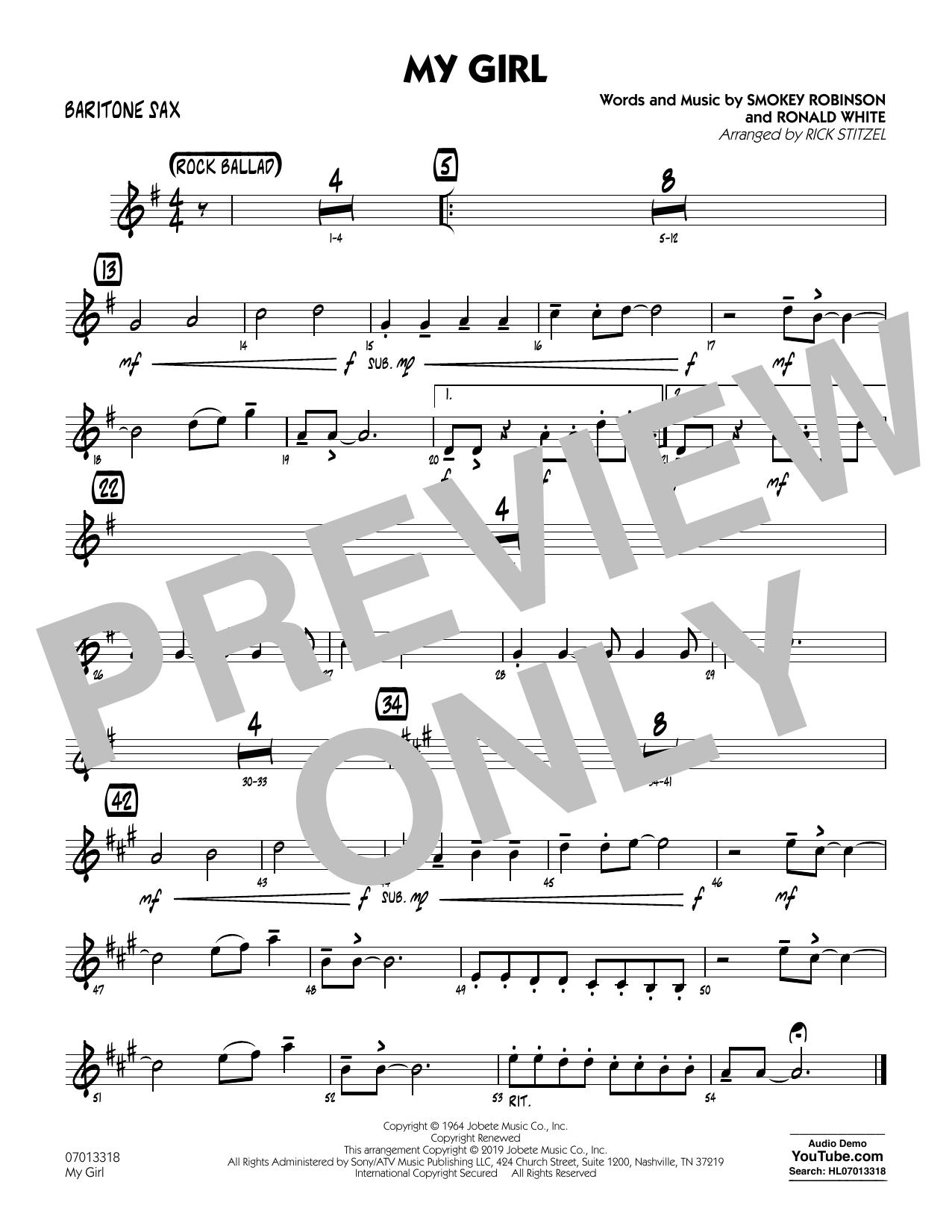 My Girl (arr. Rick Stitzel) - Baritone Sax (Jazz Ensemble)