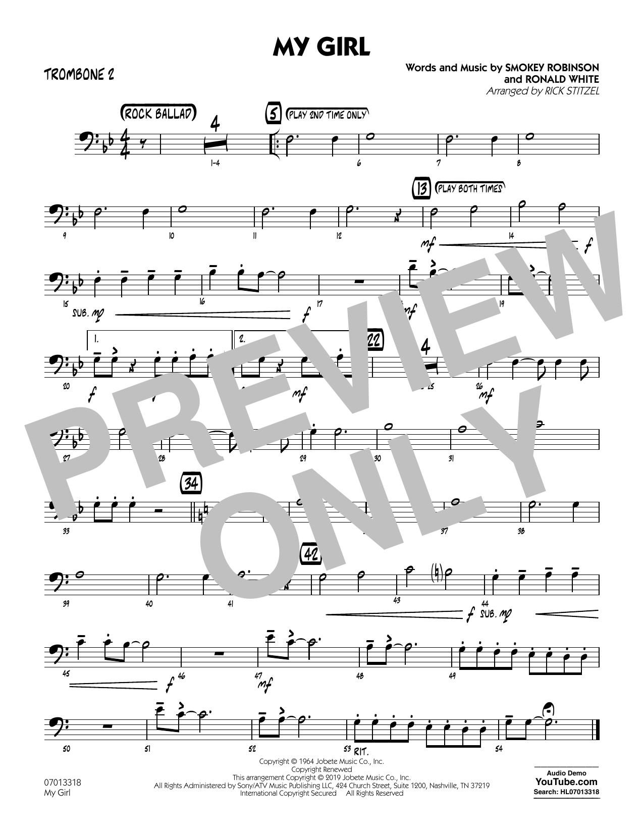My Girl (arr. Rick Stitzel) - Trombone 2 (Jazz Ensemble)