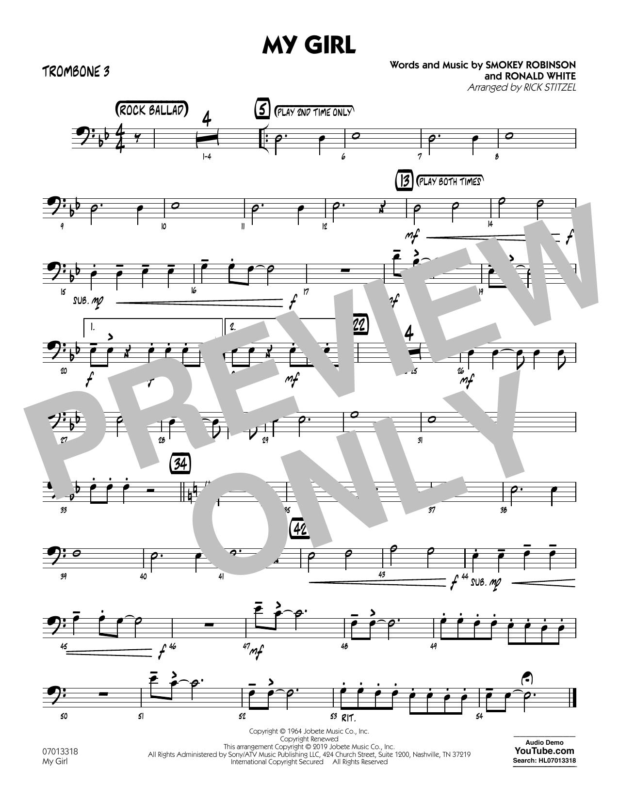 My Girl (arr. Rick Stitzel) - Trombone 3 (Jazz Ensemble)